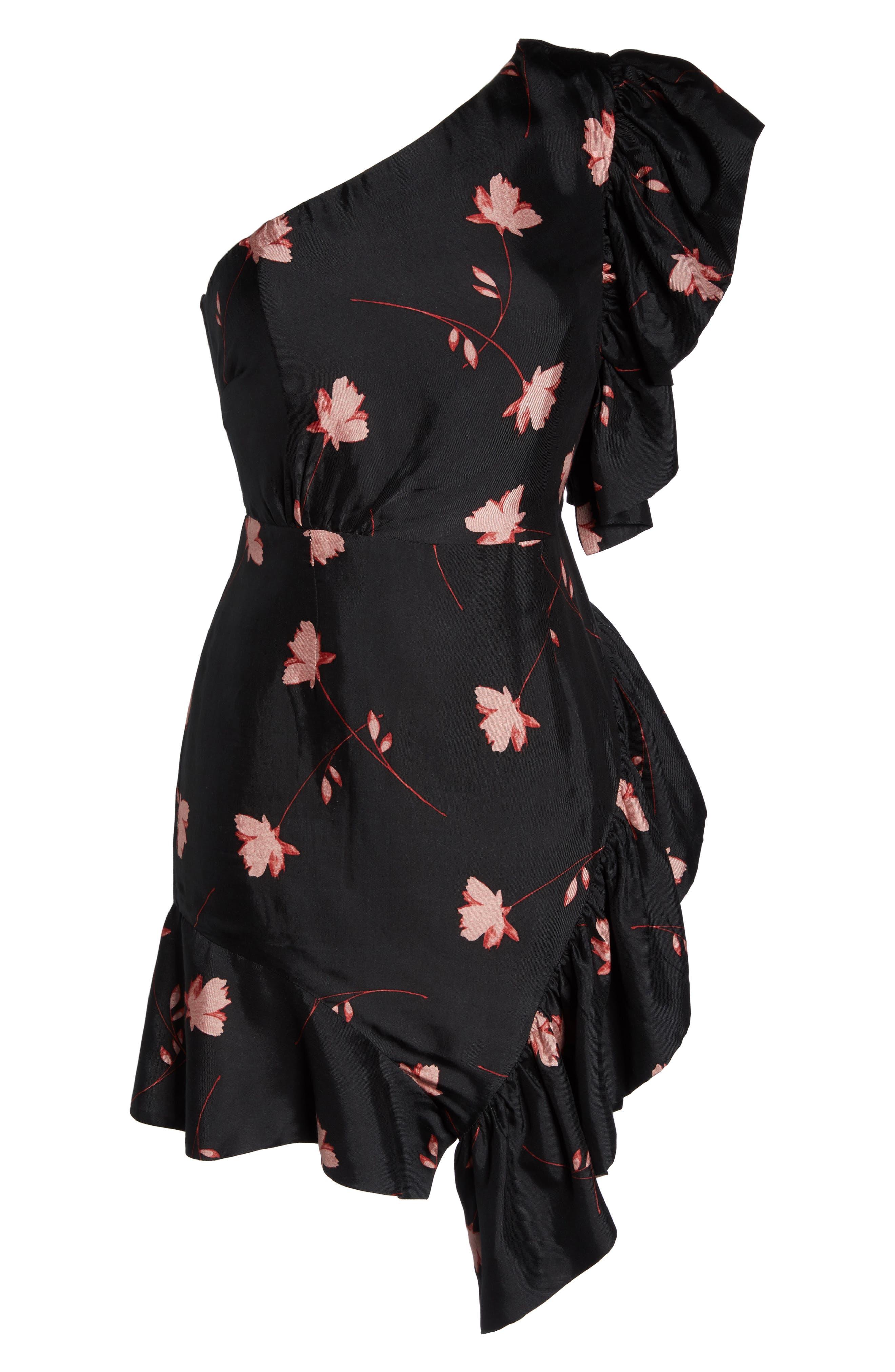 Lucia Frill One-Shoulder Dress,                             Alternate thumbnail 6, color,                             017