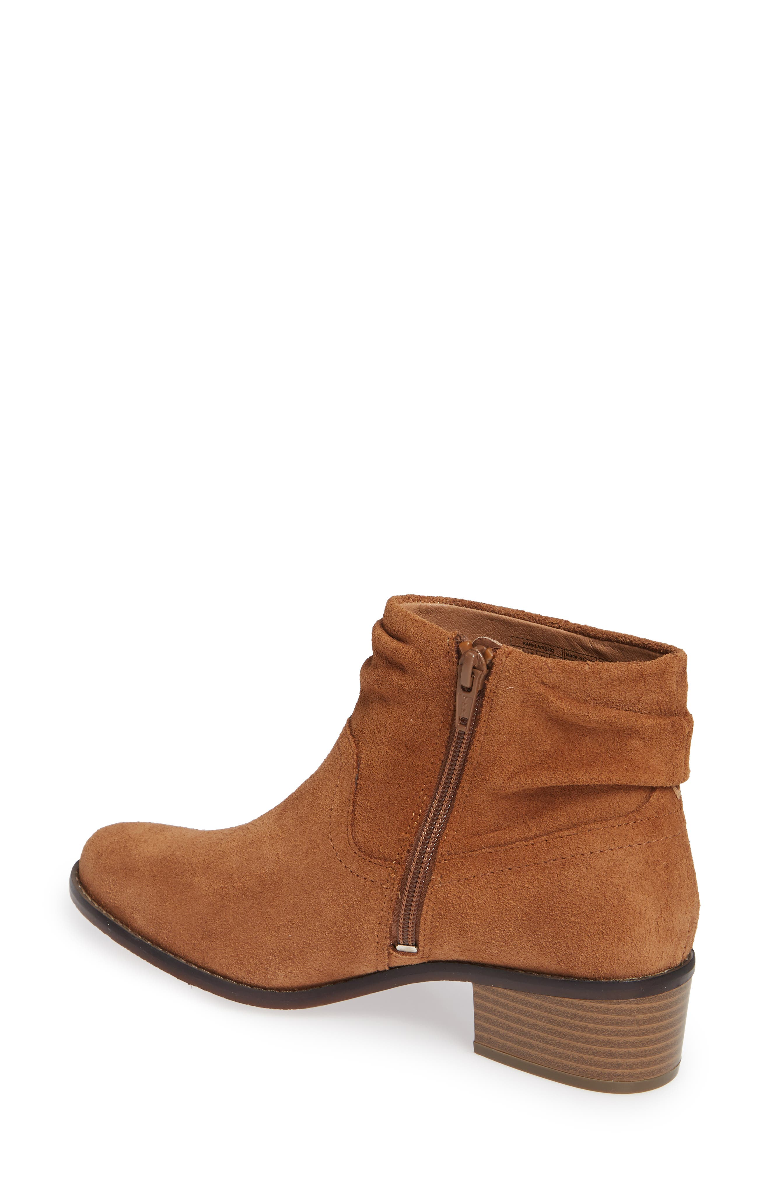 Kanela Low Slouchy Bootie,                             Alternate thumbnail 2, color,                             TOFFEE SUEDE