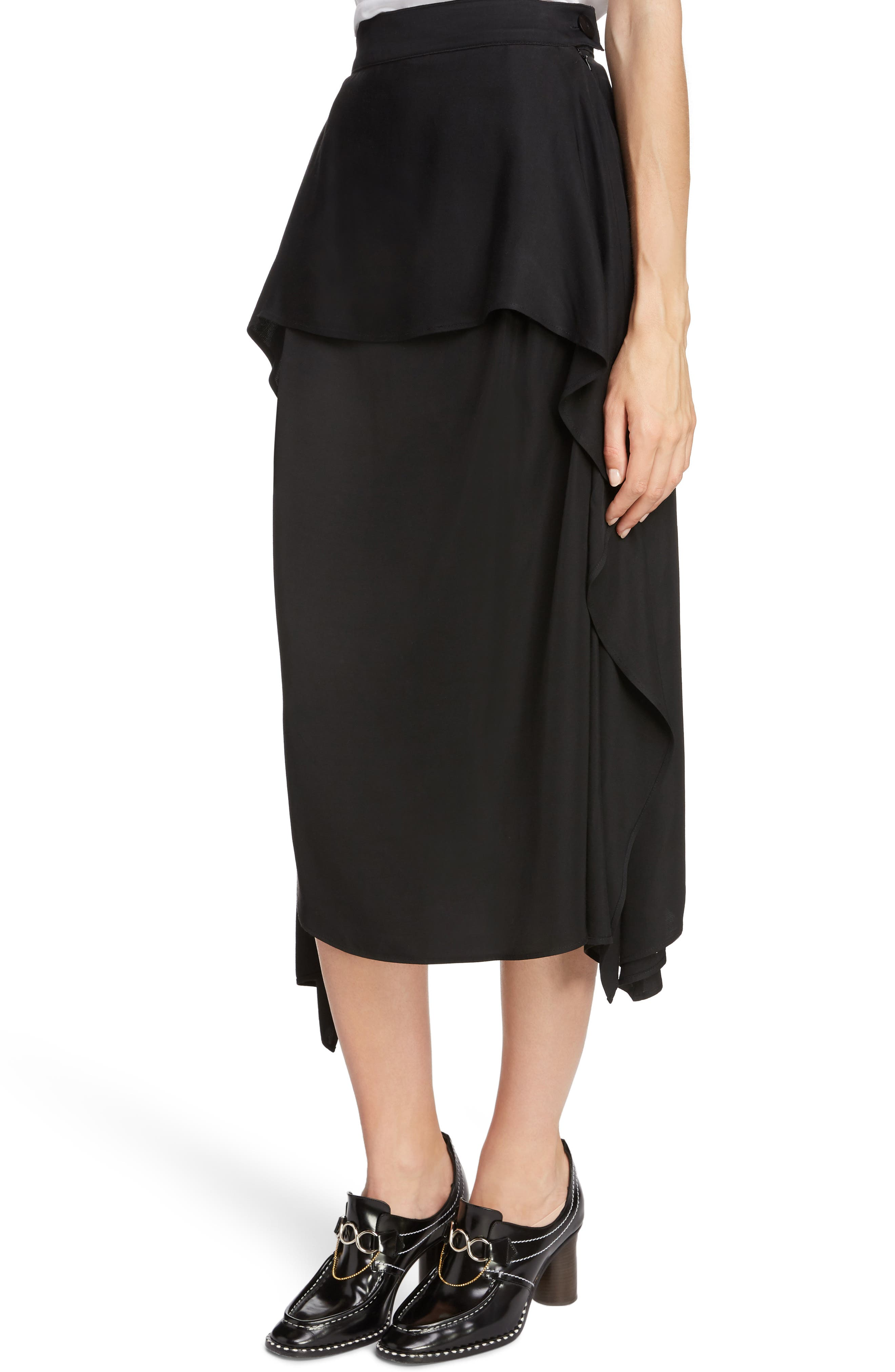JW ANDERSON,                             Draped Side Asymmetrical Skirt,                             Alternate thumbnail 4, color,                             BLACK