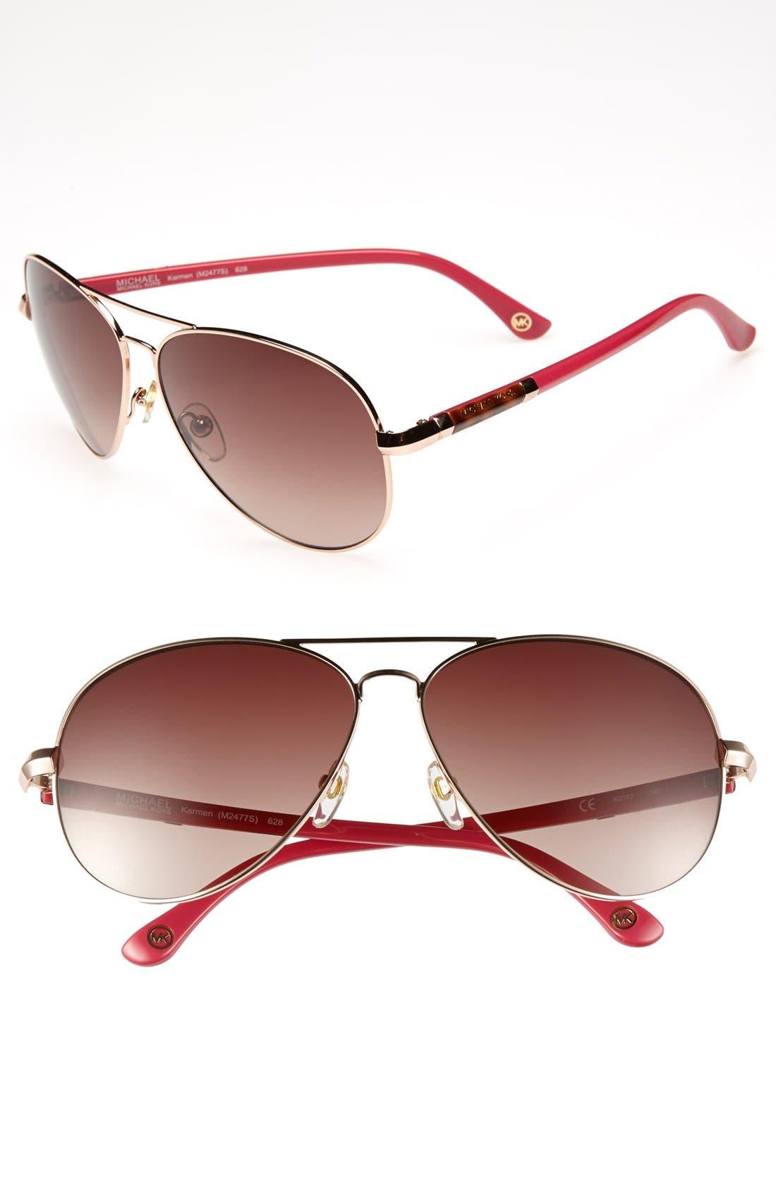 62mm Metal Aviator Sunglasses,                             Main thumbnail 5, color,