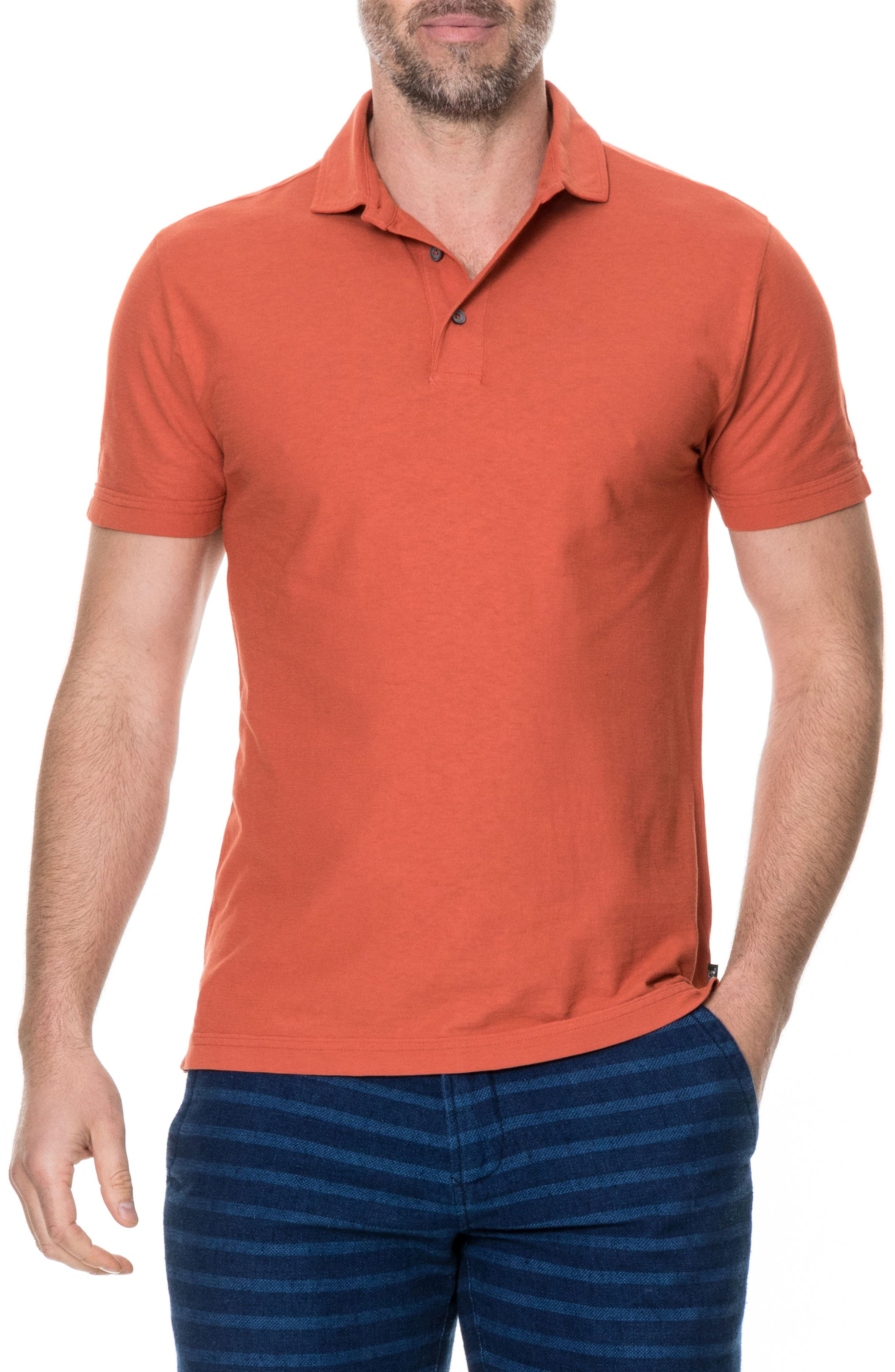 Wilsons Bay Sports Fit Polo,                         Main,                         color, RED OCHRE
