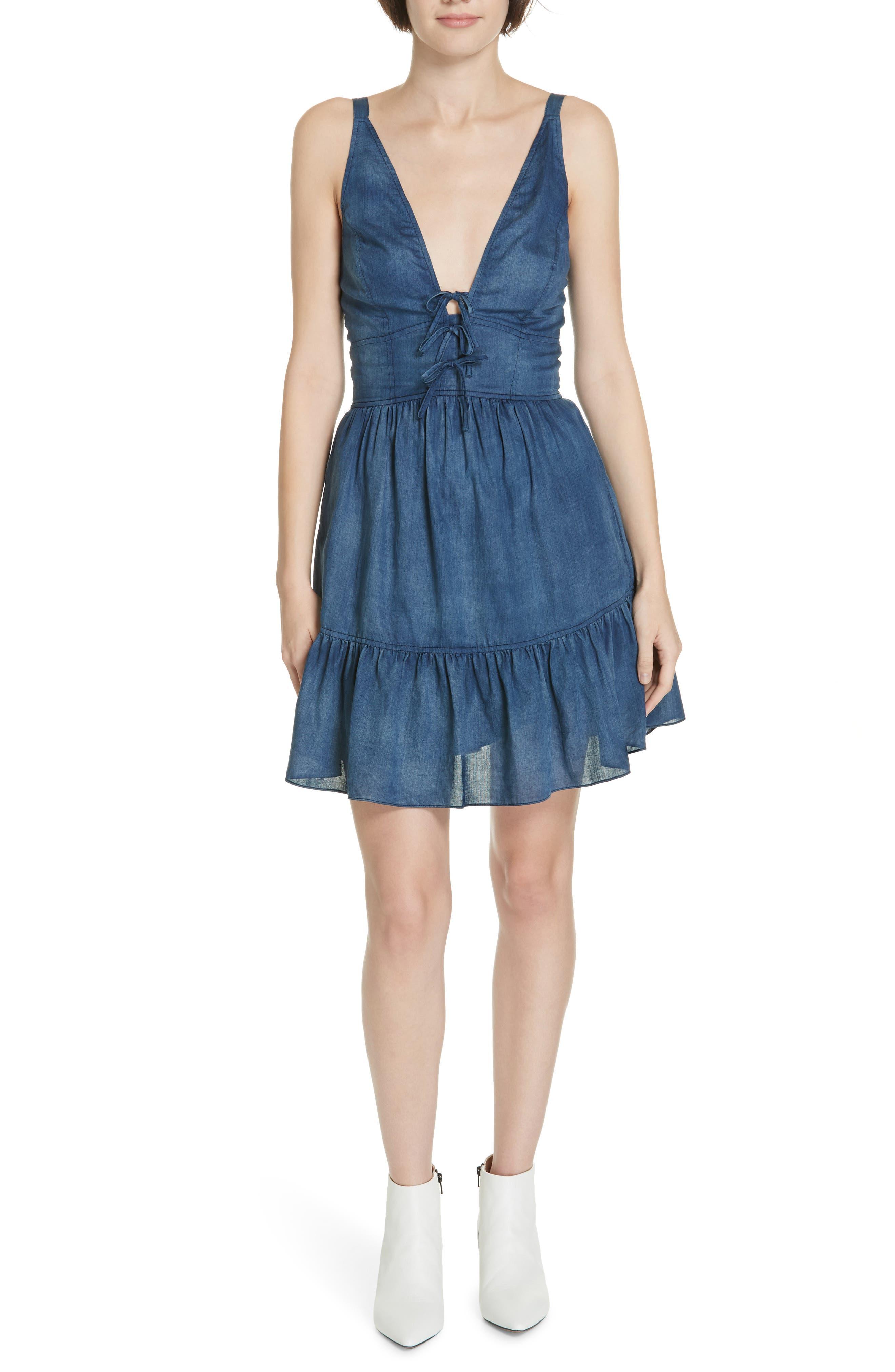 LA VIE REBECCA TAYLOR Sleeveless Tissue Denim Dress in Giverny Wash
