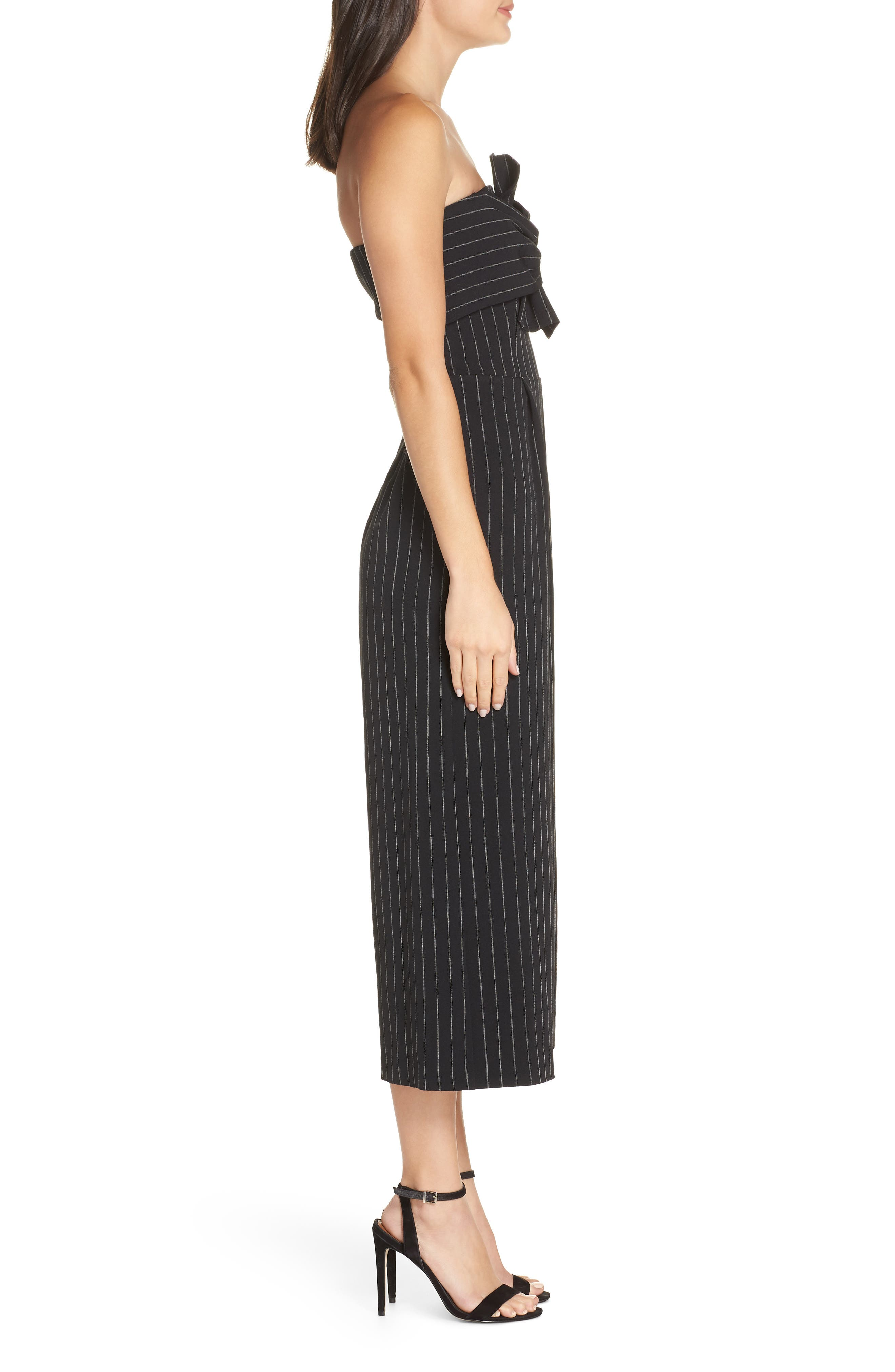 Pinstripe Tie Front Jumpsuit,                             Alternate thumbnail 3, color,                             001