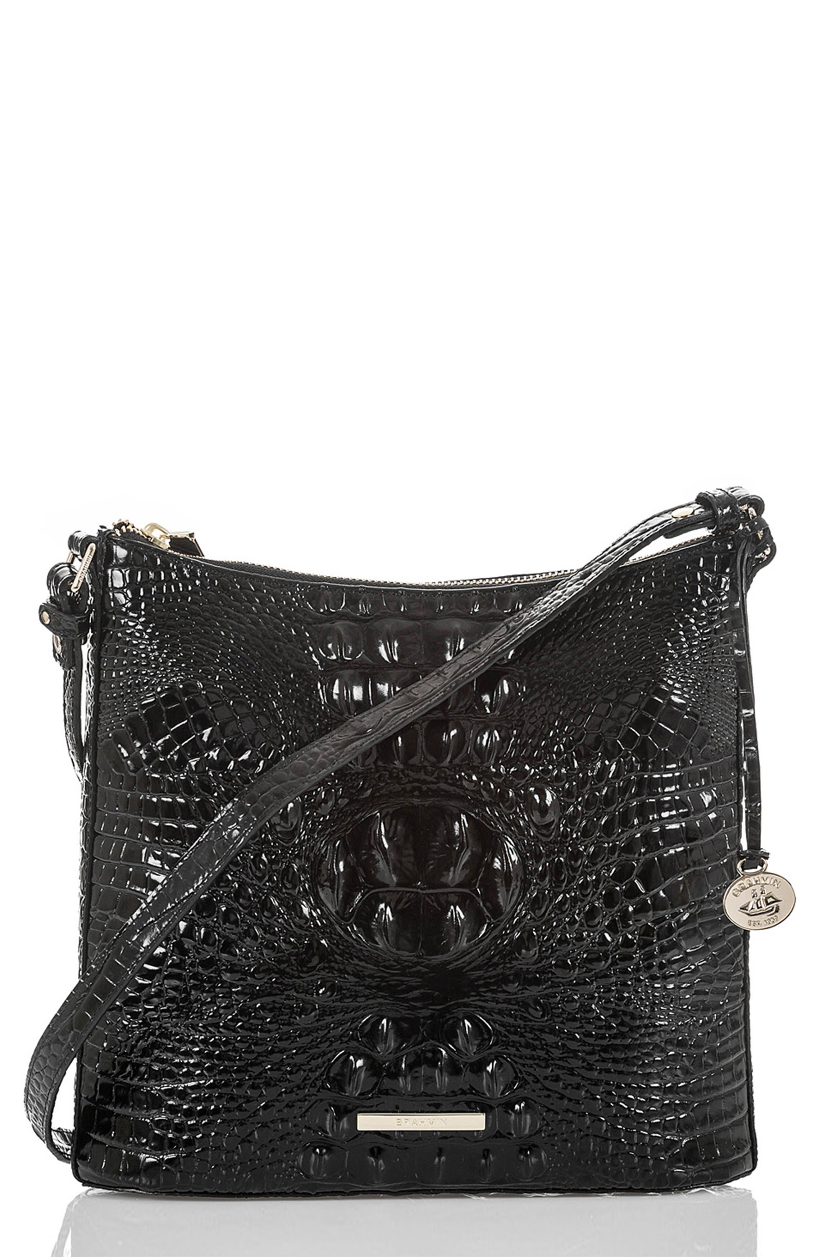 BRAHMIN Katie Croc Embossed Leather Crossbody Bag, Main, color, BLACK MEMBOURNE