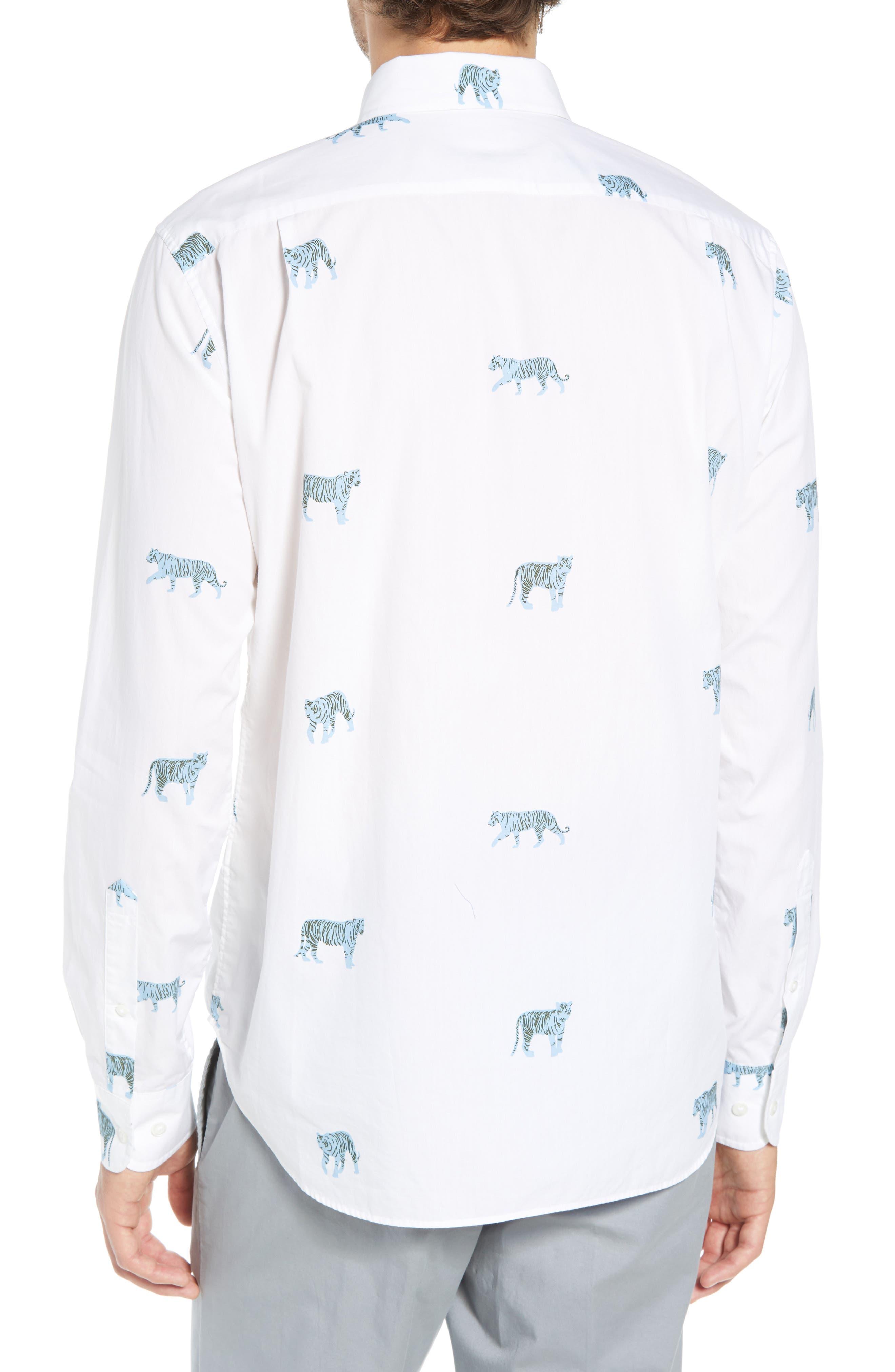Summerweight Slim Fit Tiger Print Sport Shirt,                             Alternate thumbnail 3, color,                             100