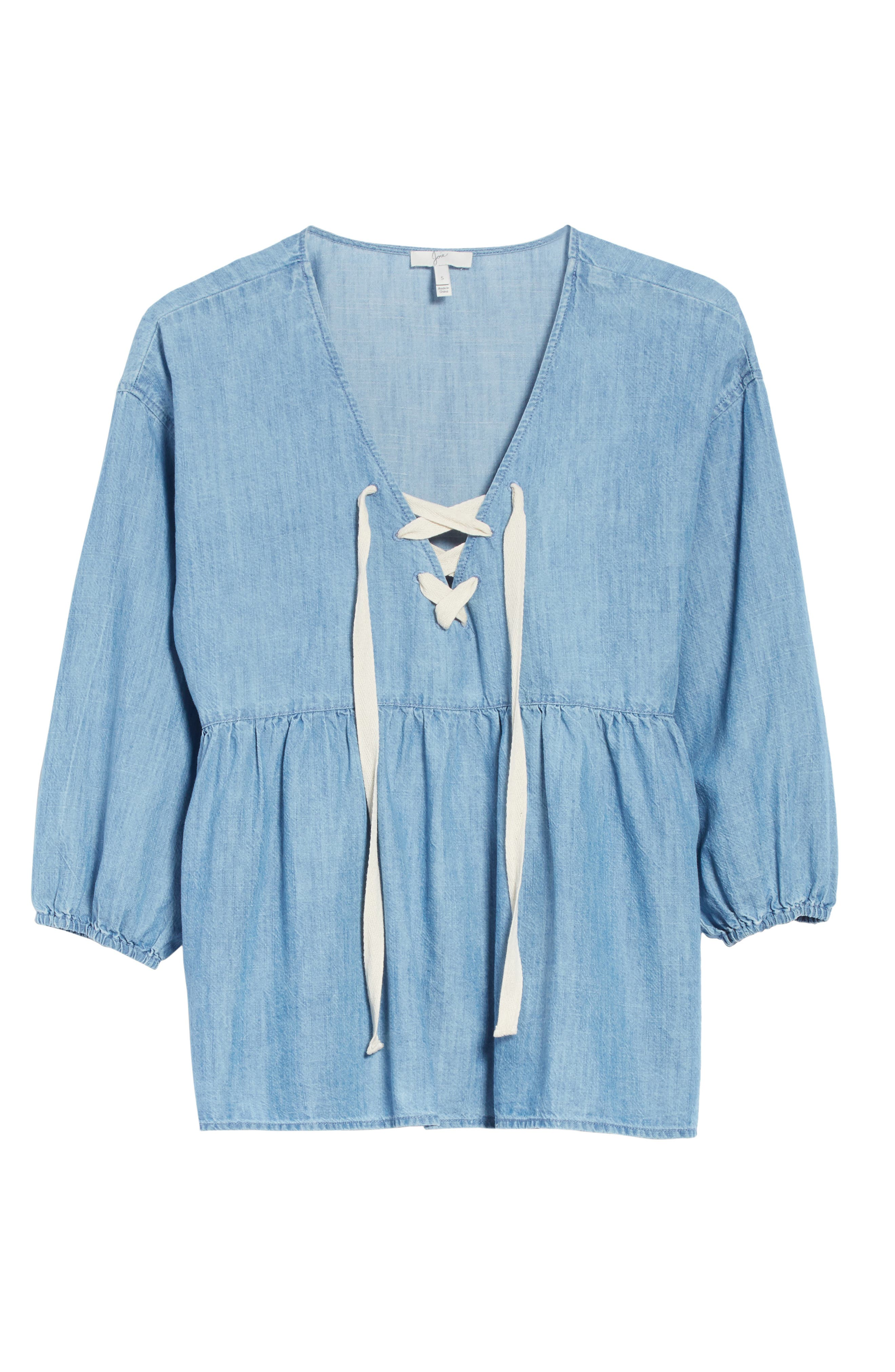 Bealette Lace-Up Chambray Top,                             Alternate thumbnail 6, color,                             481