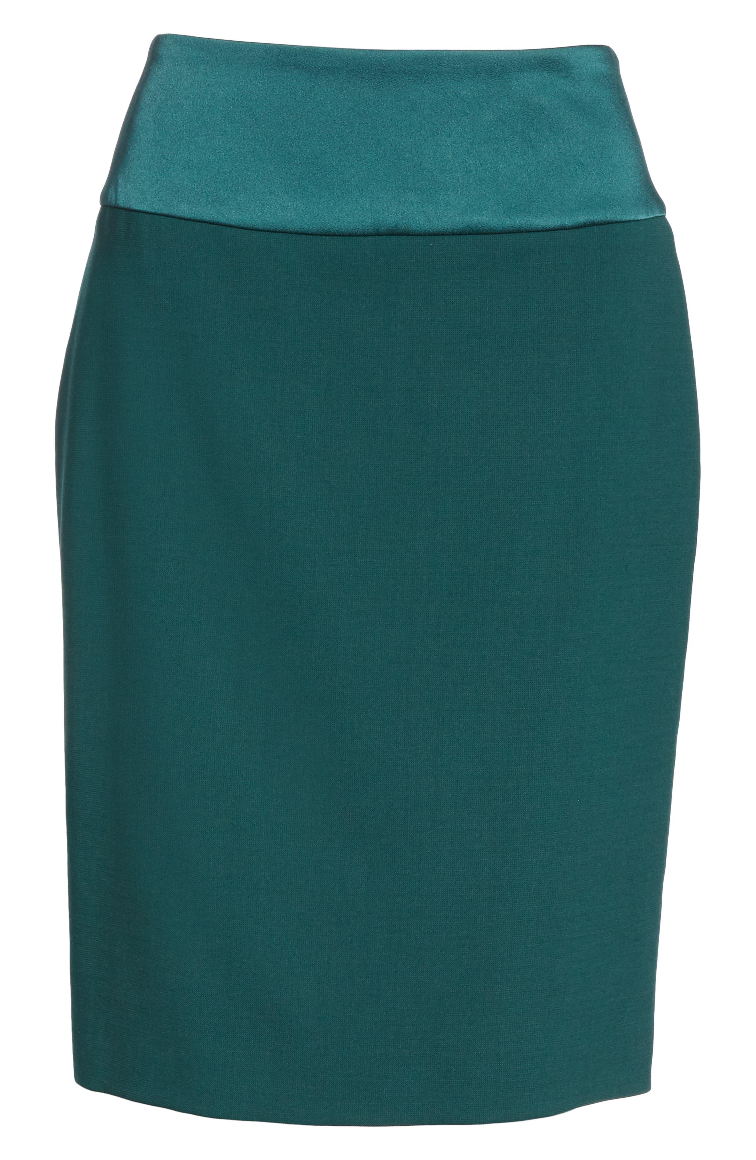 Vanufa Stretch Wool Suit Skirt,                             Alternate thumbnail 6, color,                             PINE GREEN