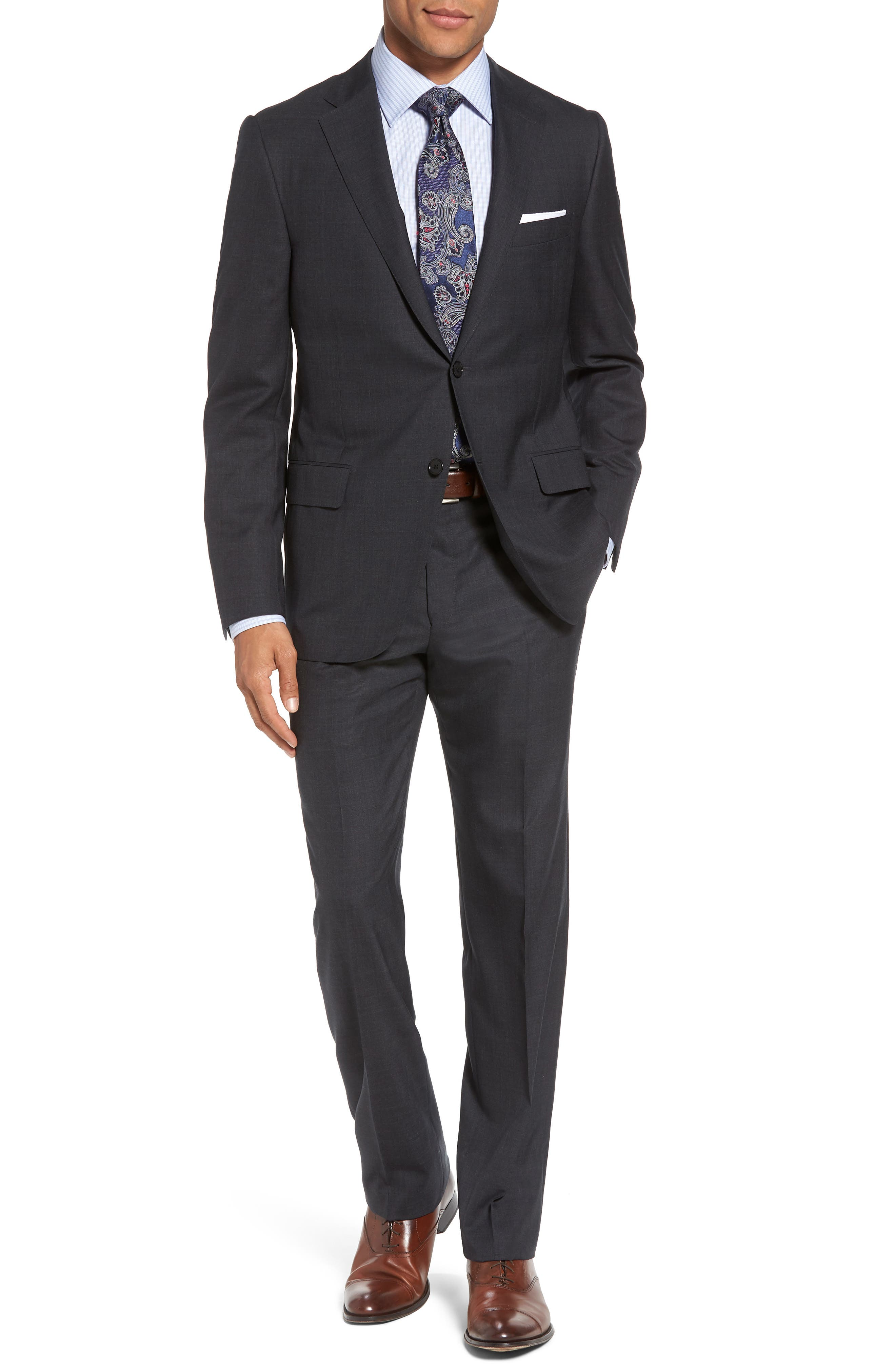 Classic B Fit Check Wool Suit,                         Main,                         color, 099