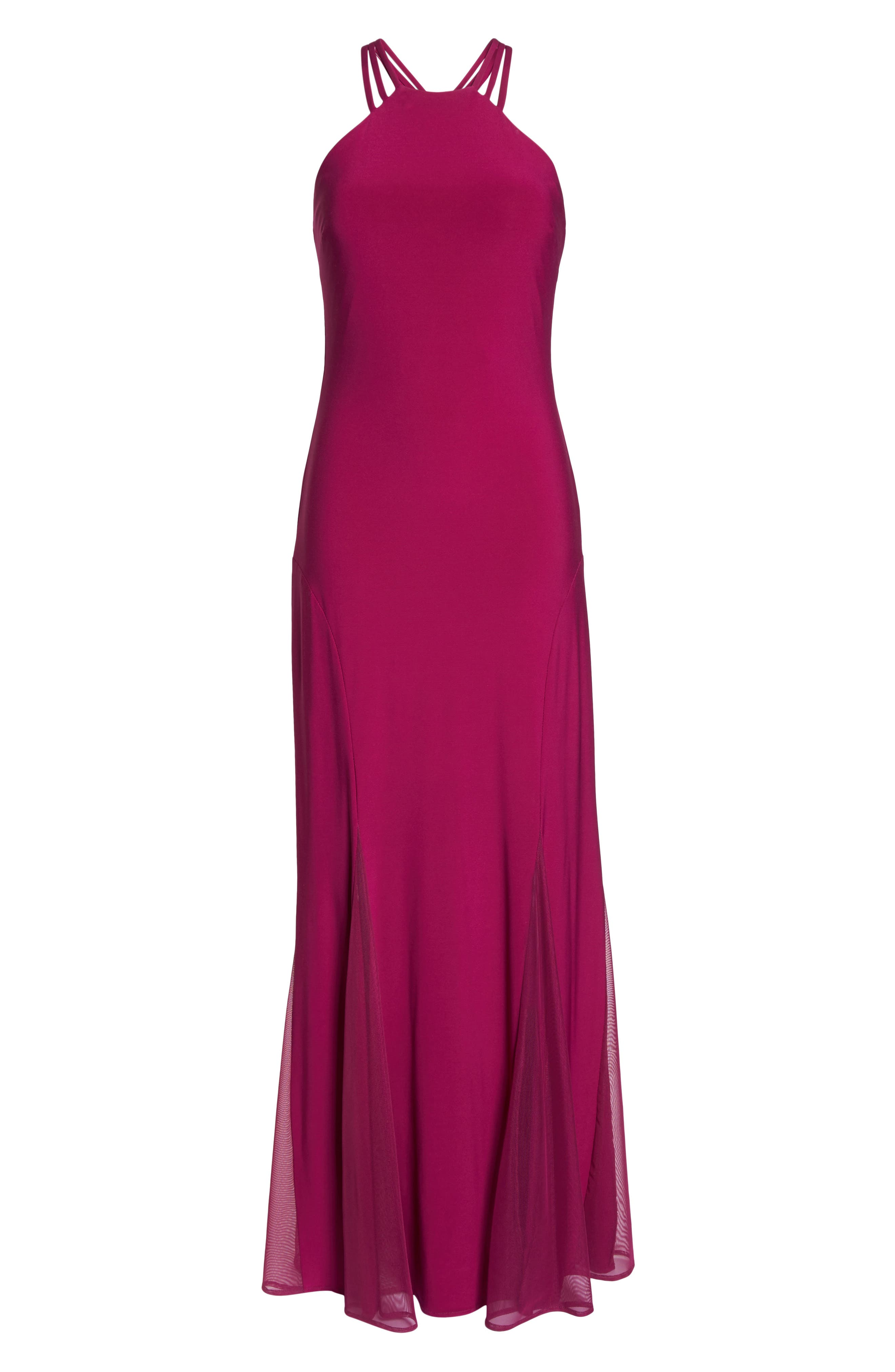 Strappy Back Trumpet Gown,                             Alternate thumbnail 6, color,                             BERRY