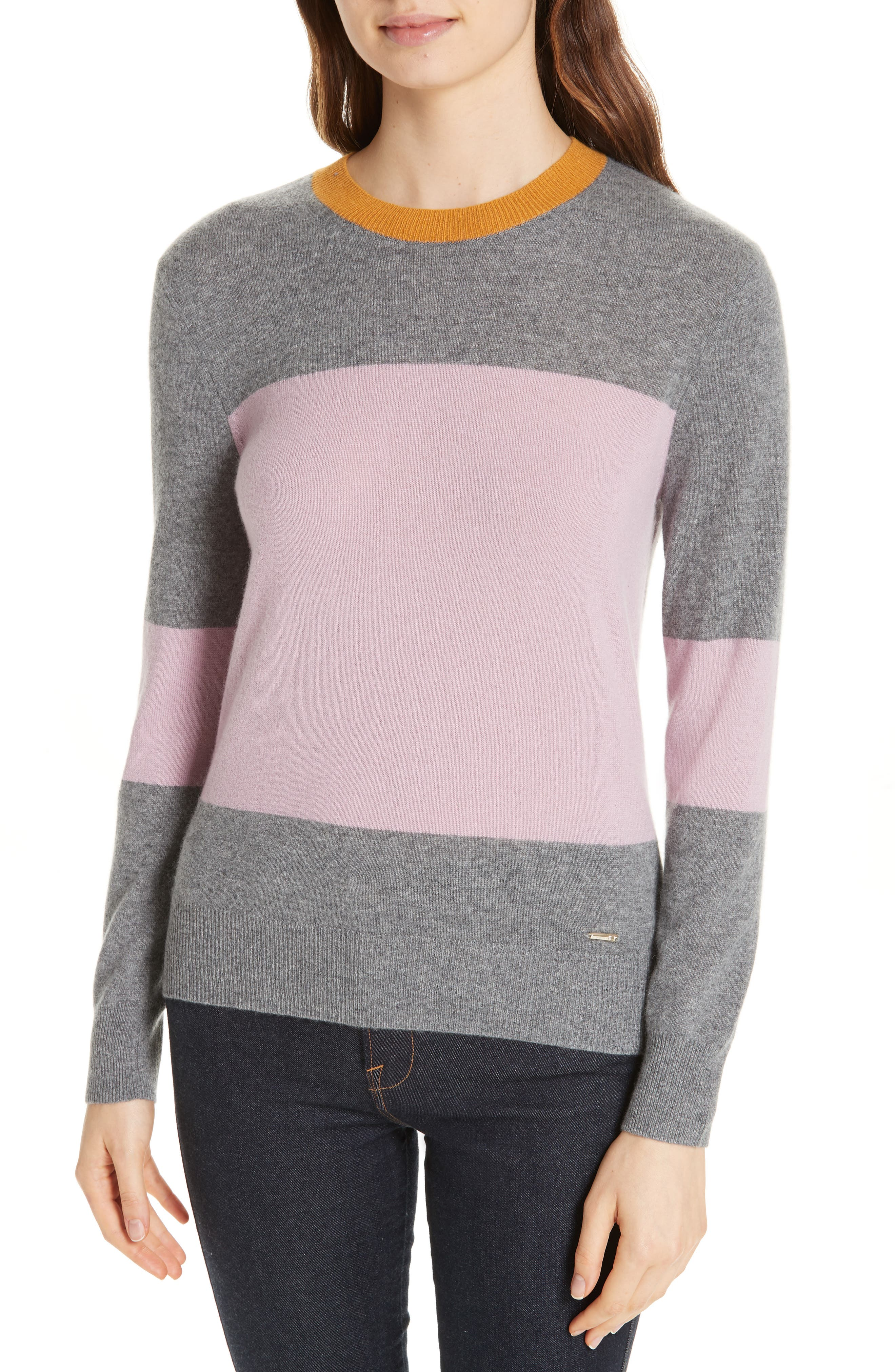 Colour by Numbers Bryonny Colorblock Cashmere Sweater, Main, color, GREY MARL