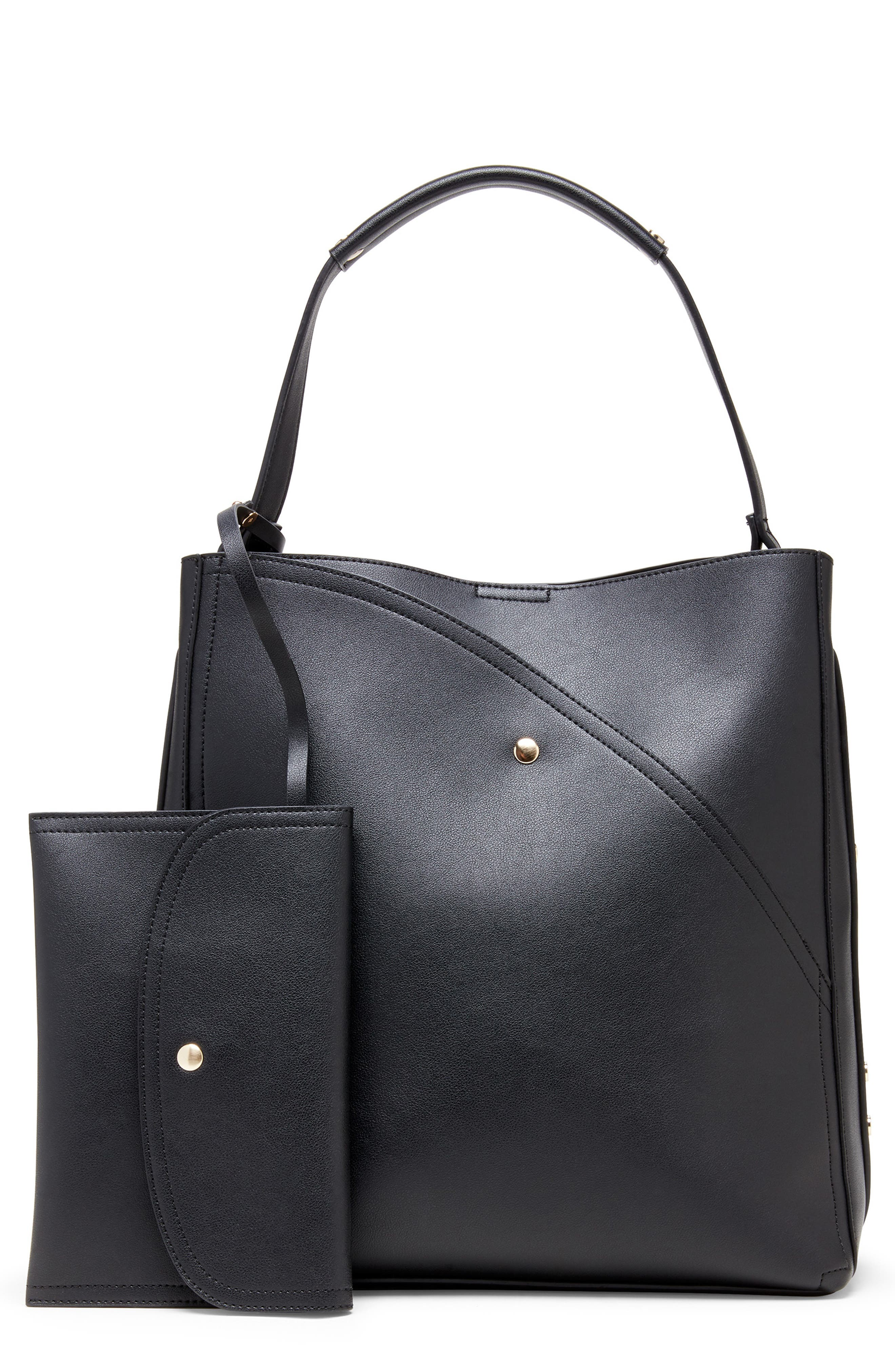 Hingi Faux Leather Tote,                         Main,                         color, BLACK