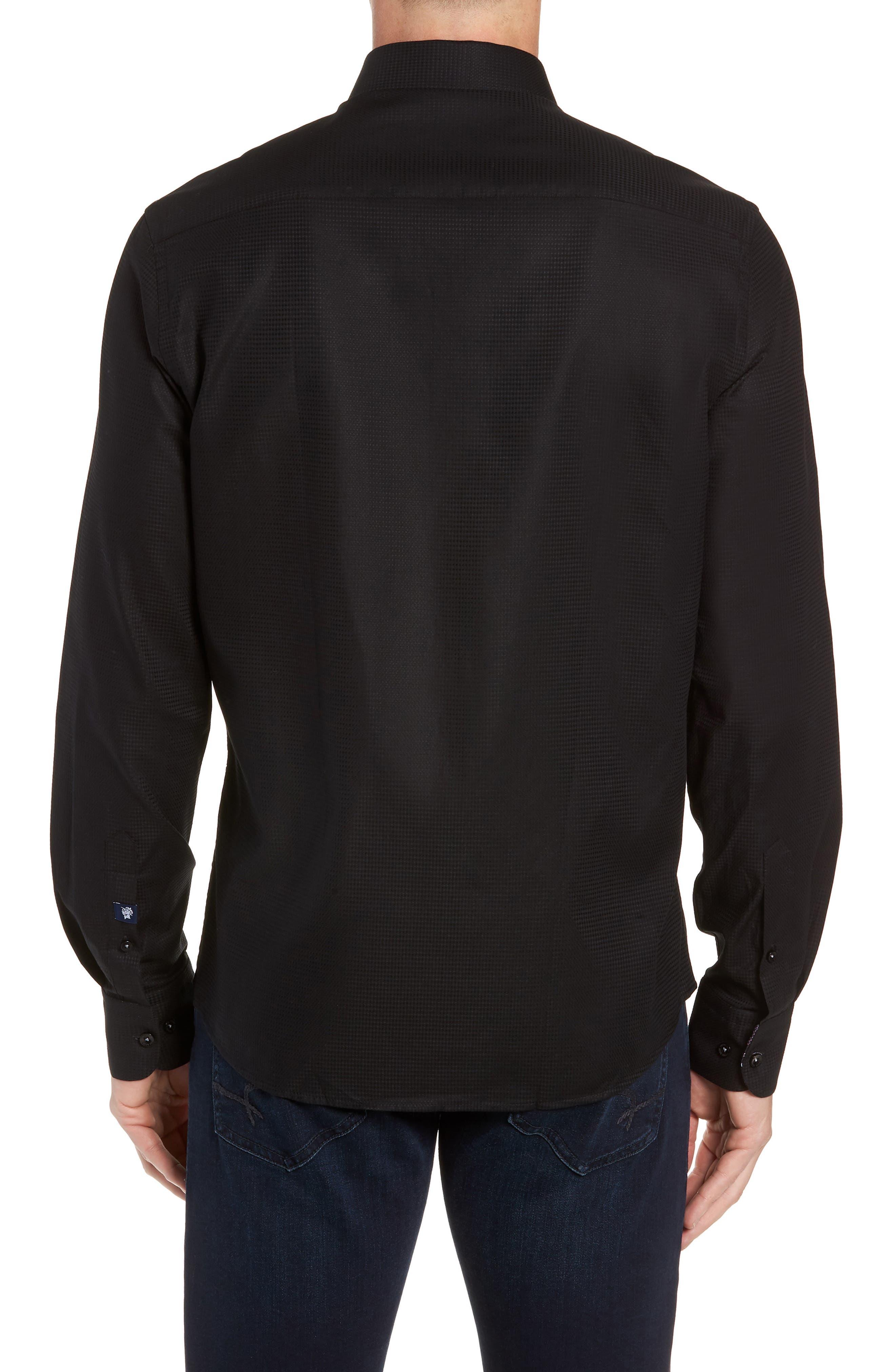 Contemporary Fit Waffle Texture Sport Shirt,                             Alternate thumbnail 3, color,                             BLACK