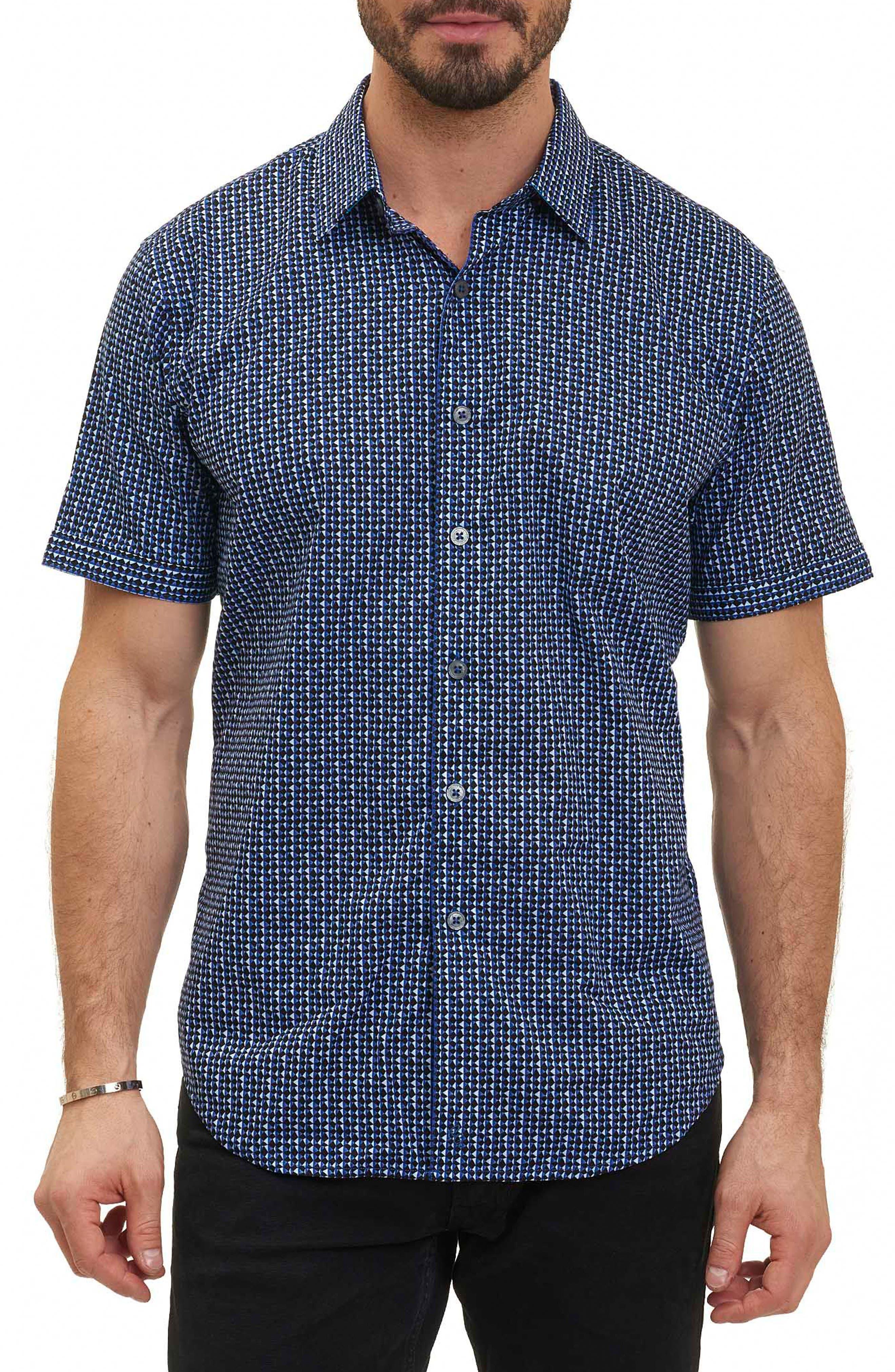 Gardena Classic Fit Geo Print Short Sleeve Sport Shirt,                             Main thumbnail 1, color,                             400