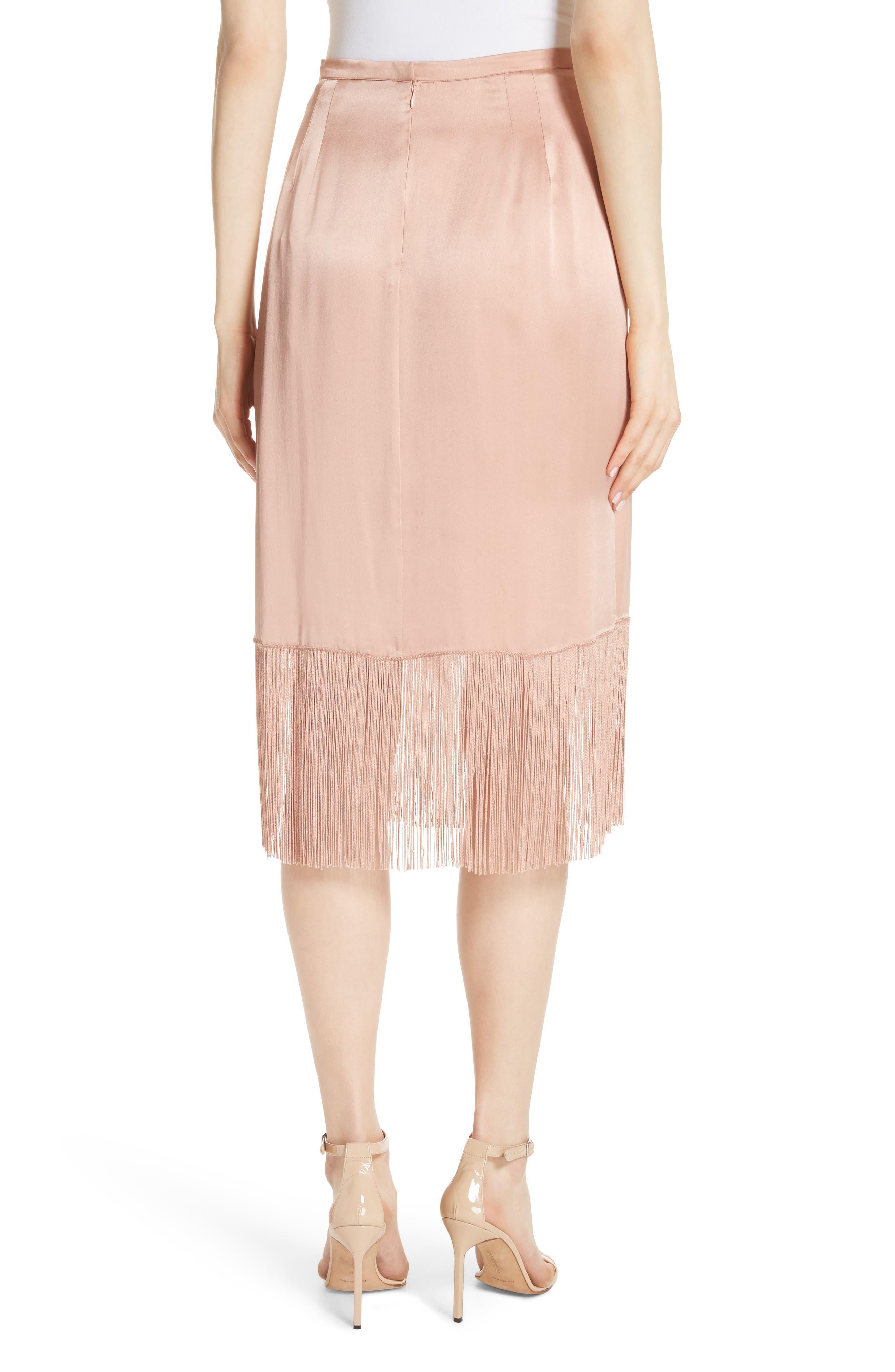Fringe Silk Skirt,                             Alternate thumbnail 2, color,                             657