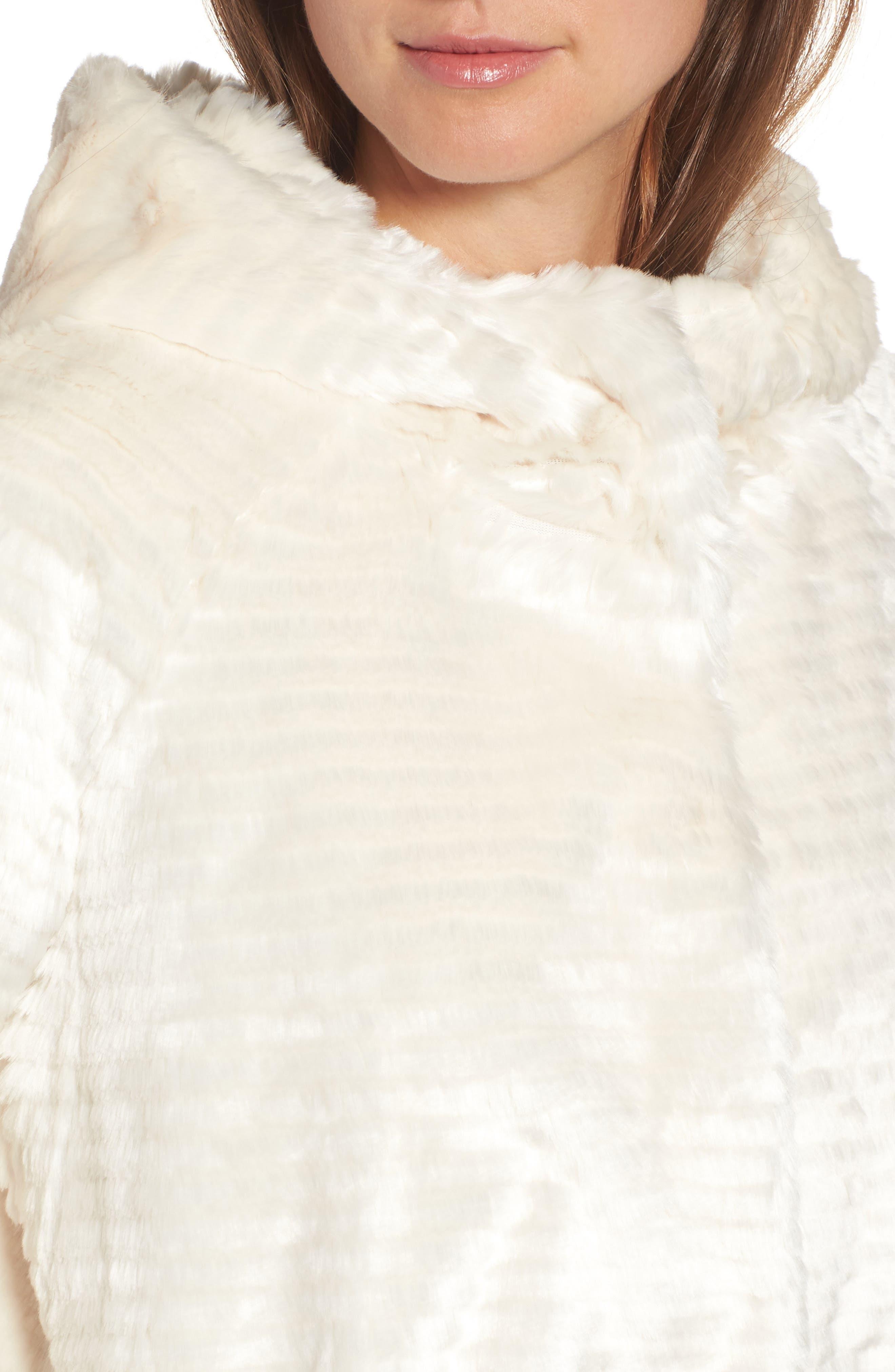 VINCE CAMUTO,                             Hooded Faux Fur Coat,                             Alternate thumbnail 4, color,                             100