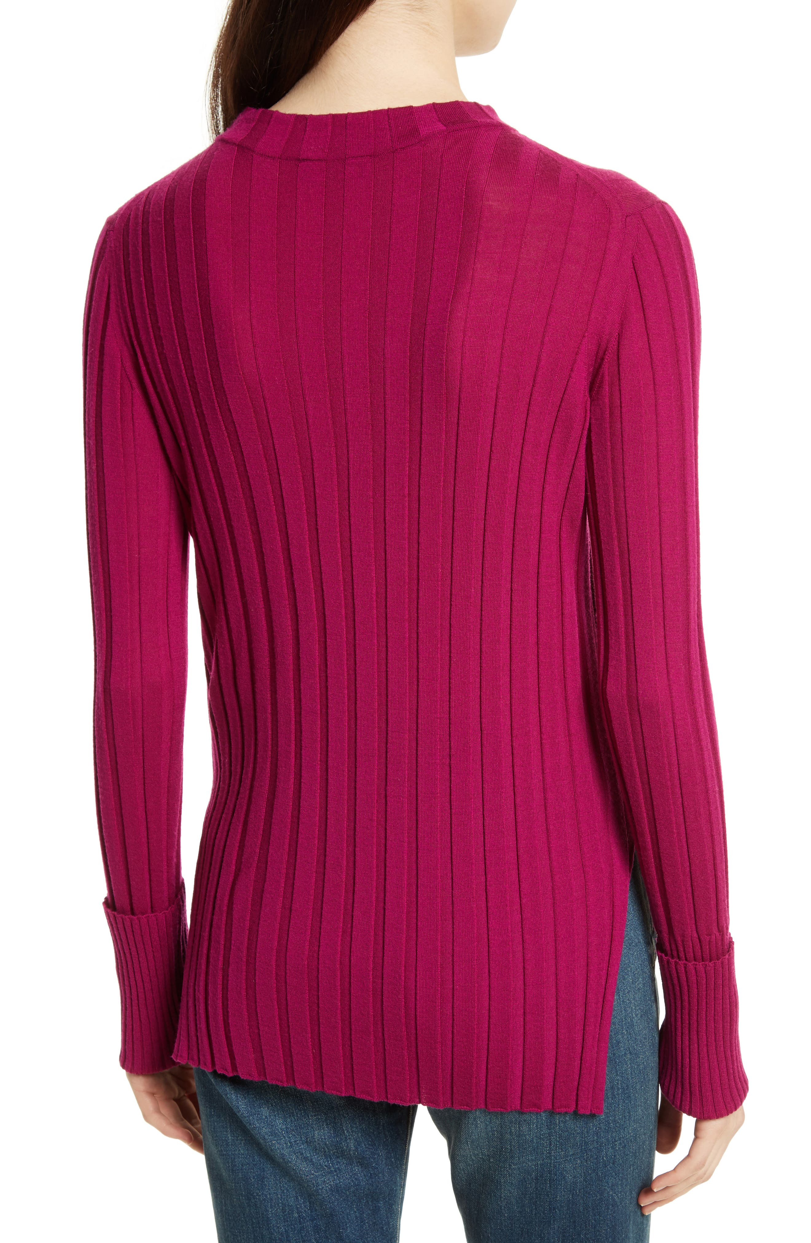 Wide Ribbed Mock Neck Wool Sweater,                             Alternate thumbnail 9, color,