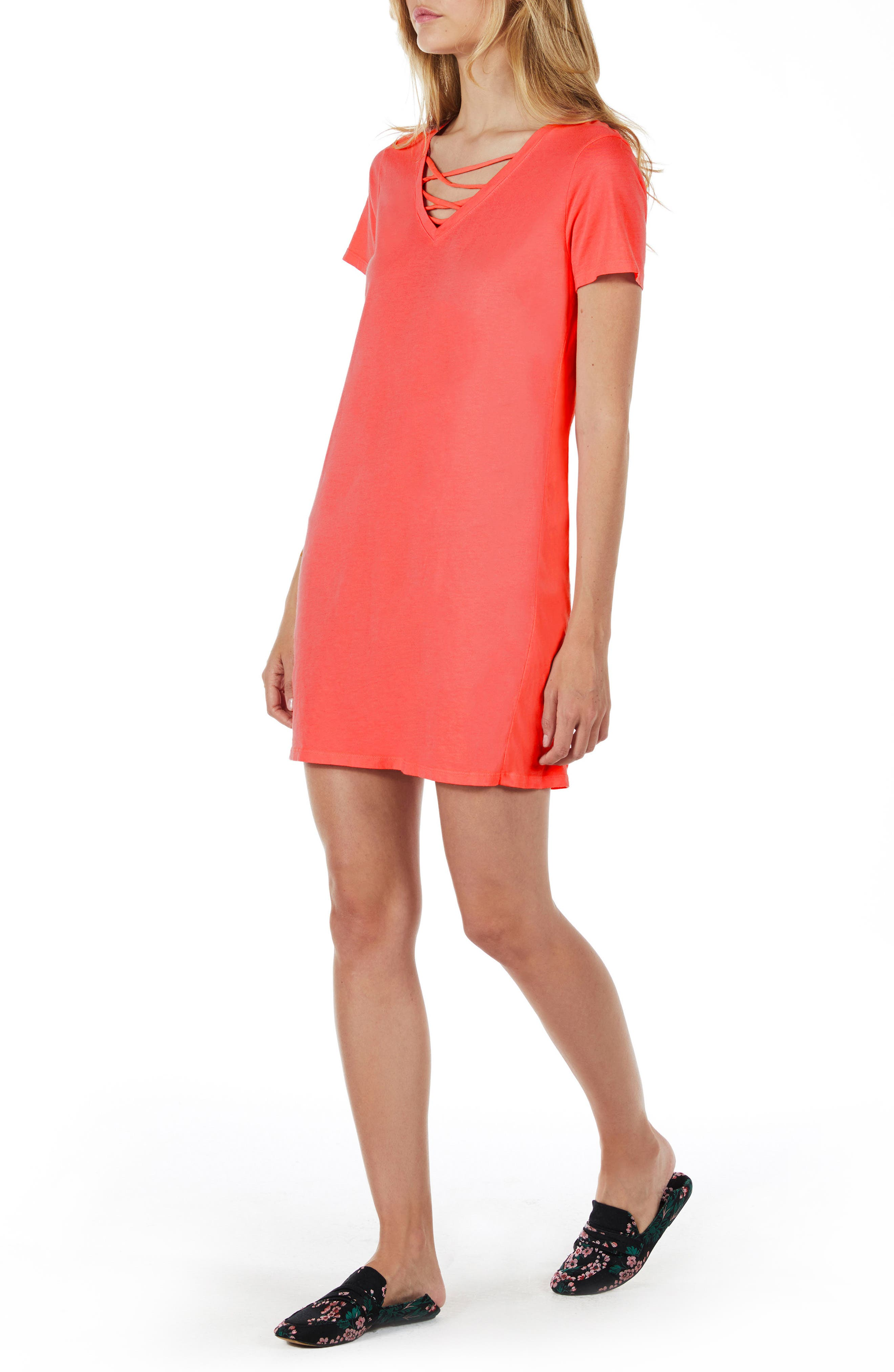 Strappy V-Neck Shift Dress,                             Alternate thumbnail 8, color,