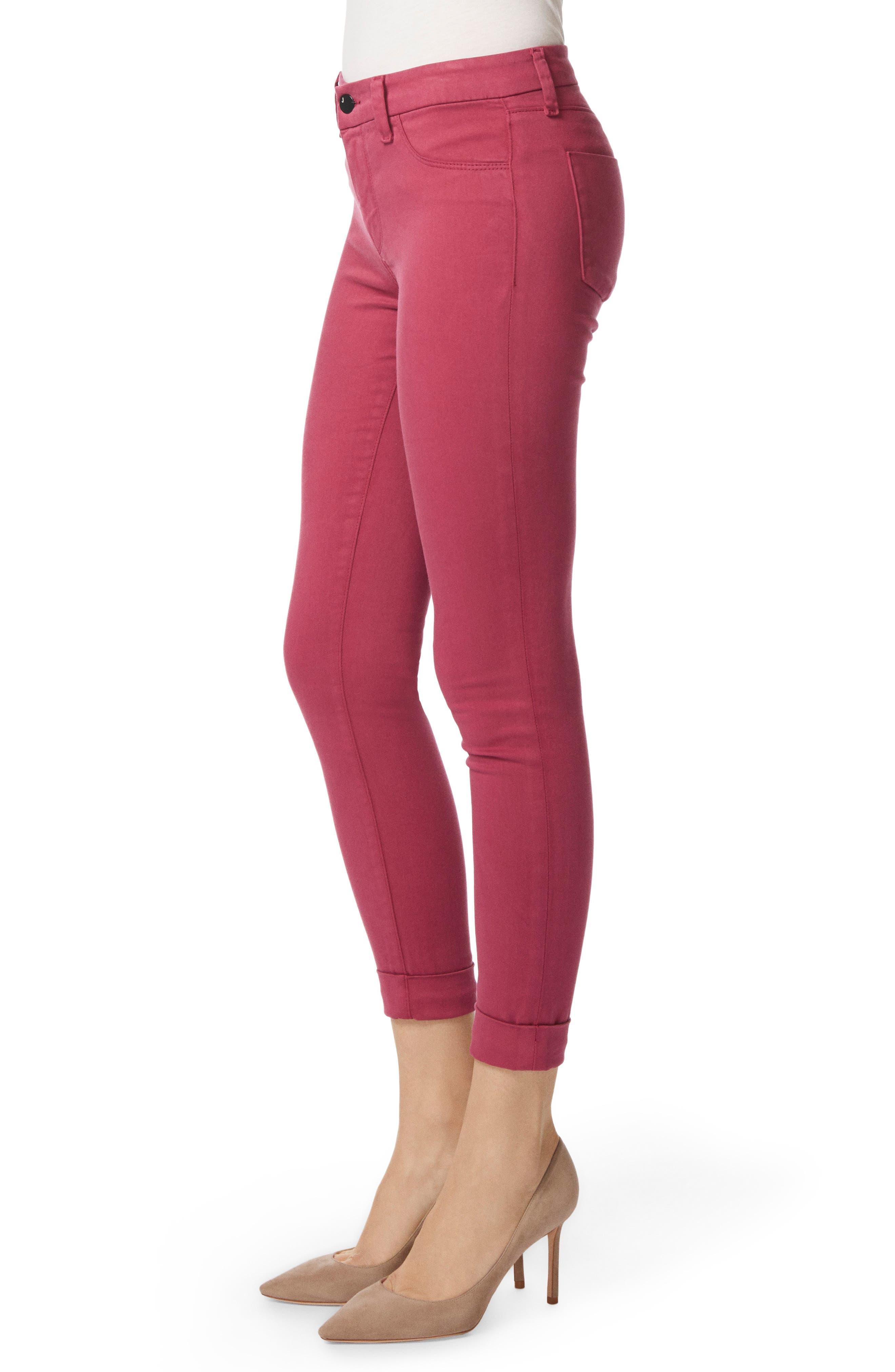Anja Cuff Crop Jeans,                             Alternate thumbnail 3, color,                             DEEP PLUM