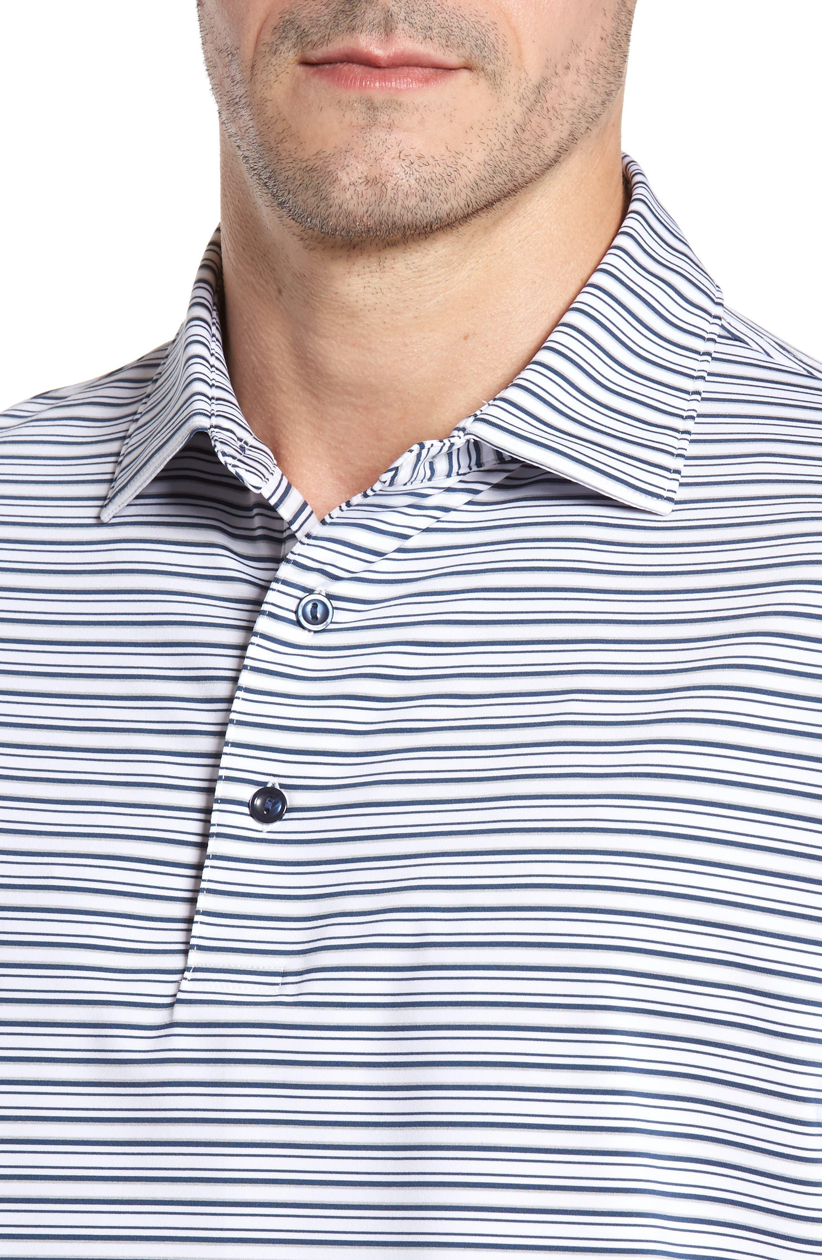 Barron Sean Stripe Jersey Polo,                             Alternate thumbnail 4, color,                             100