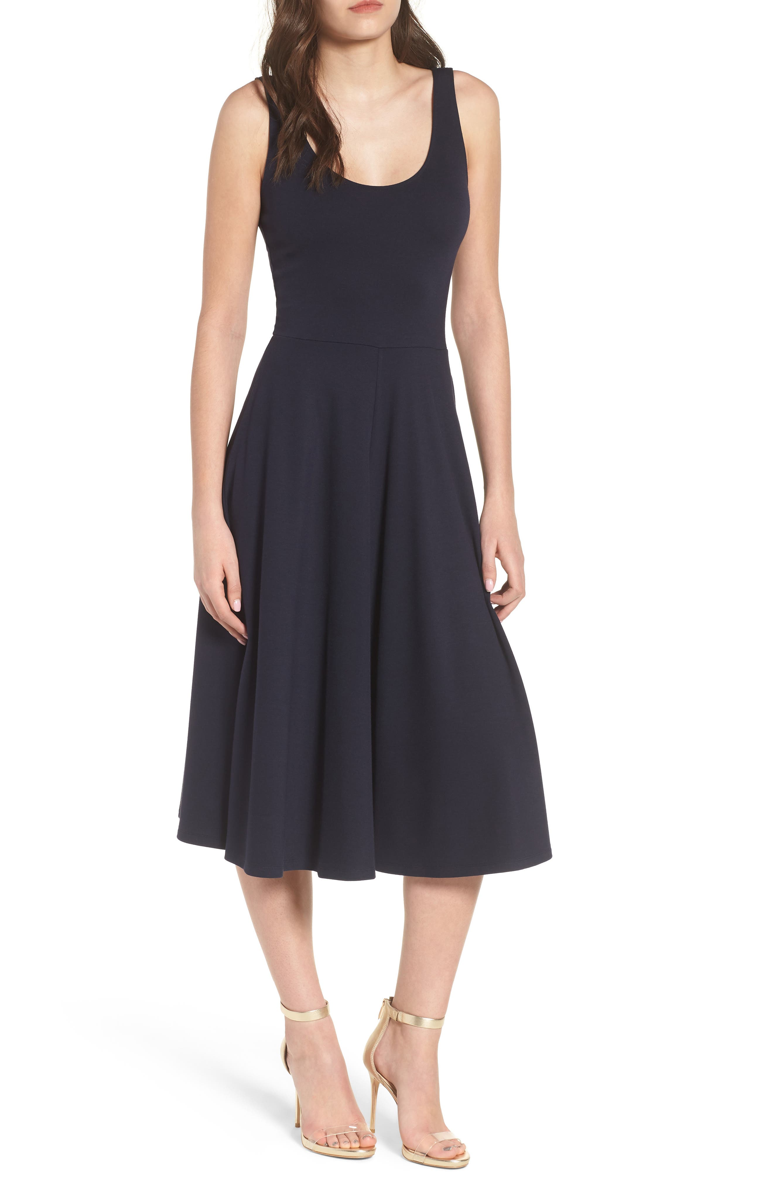 Stretch Knit Midi Dress,                             Main thumbnail 1, color,                             410