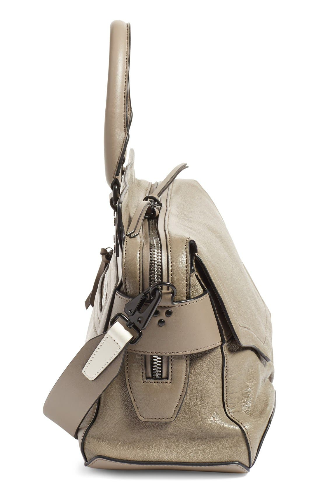 'Pilot' Lambskin Leather Satchel,                             Alternate thumbnail 14, color,
