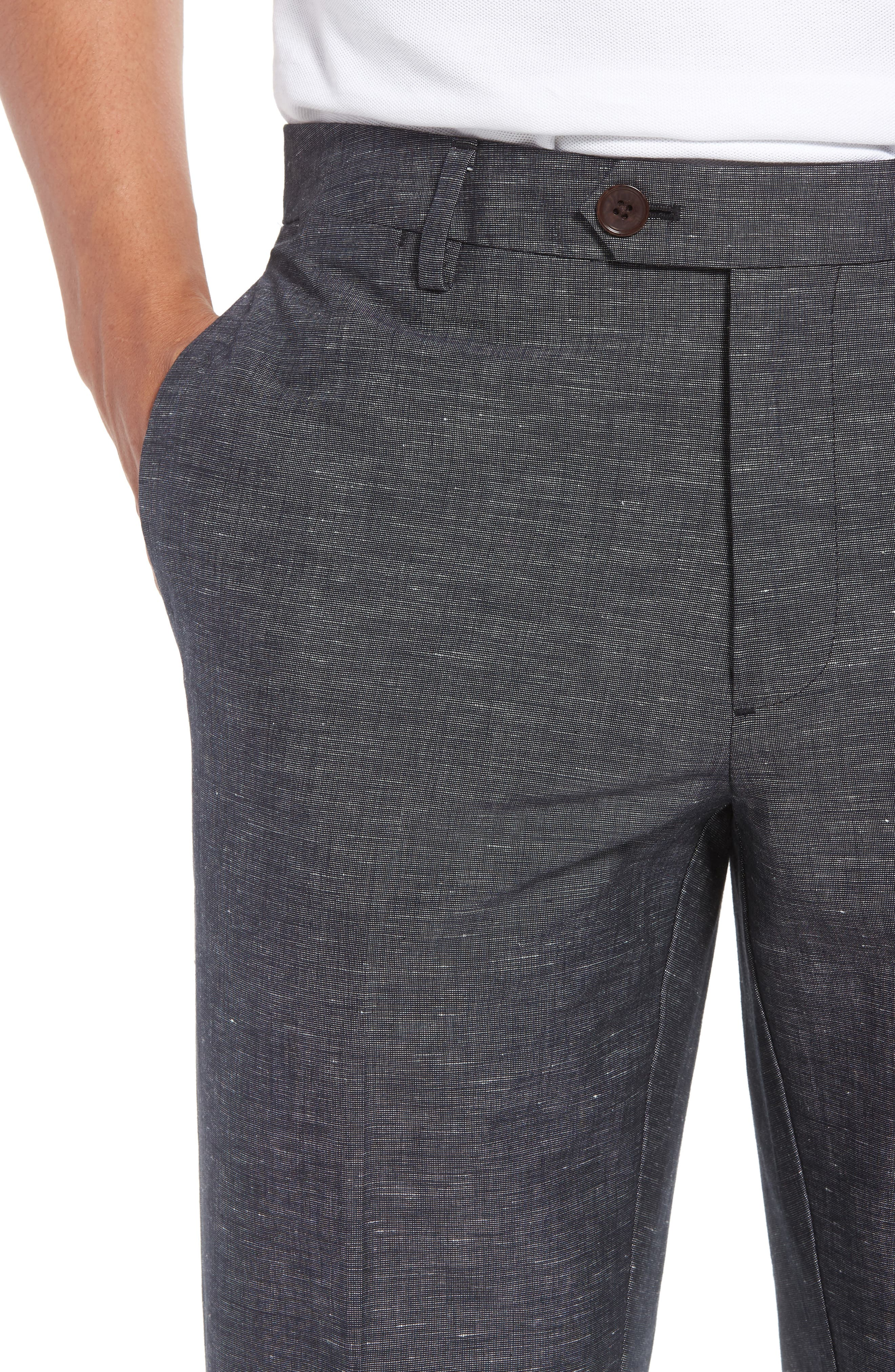 Flat Front Solid Stretch Cotton & Linen Pants,                             Alternate thumbnail 7, color,