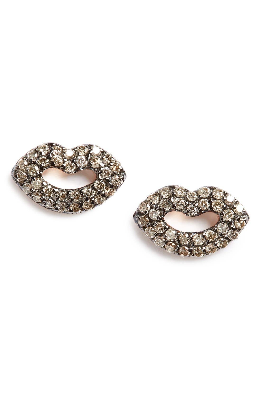 Kismet By Milka Mini Ruby Encrusted Lips Stud Earrings Nordstrom