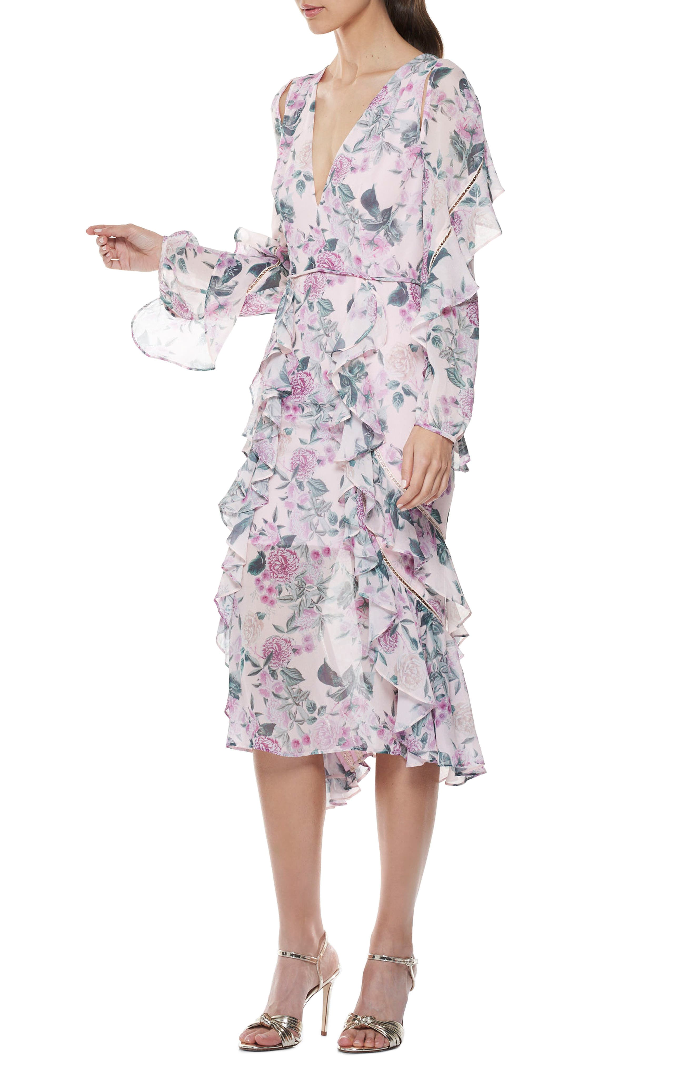 Floral Pleasure Midi Dress,                             Alternate thumbnail 3, color,                             680