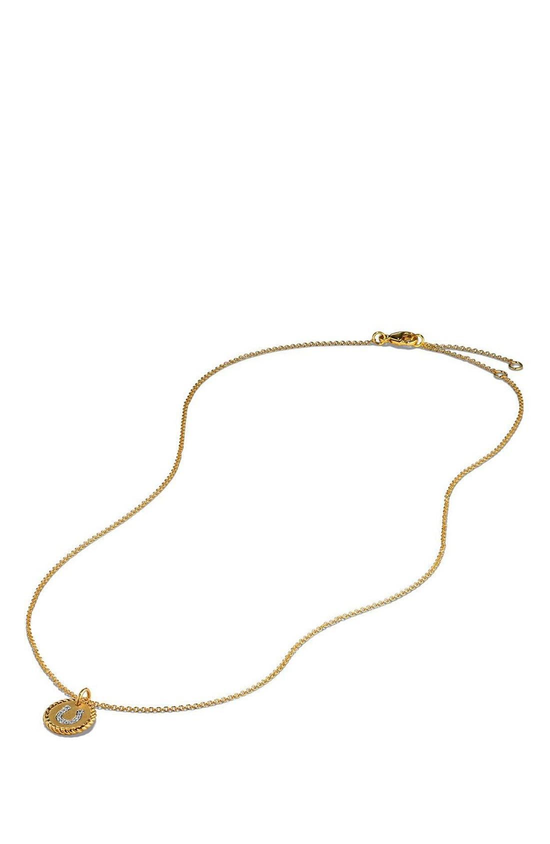 'Cable Collectibles' Horseshoe Charm Necklace with Diamonds in Gold,                             Alternate thumbnail 5, color,                             GOLD