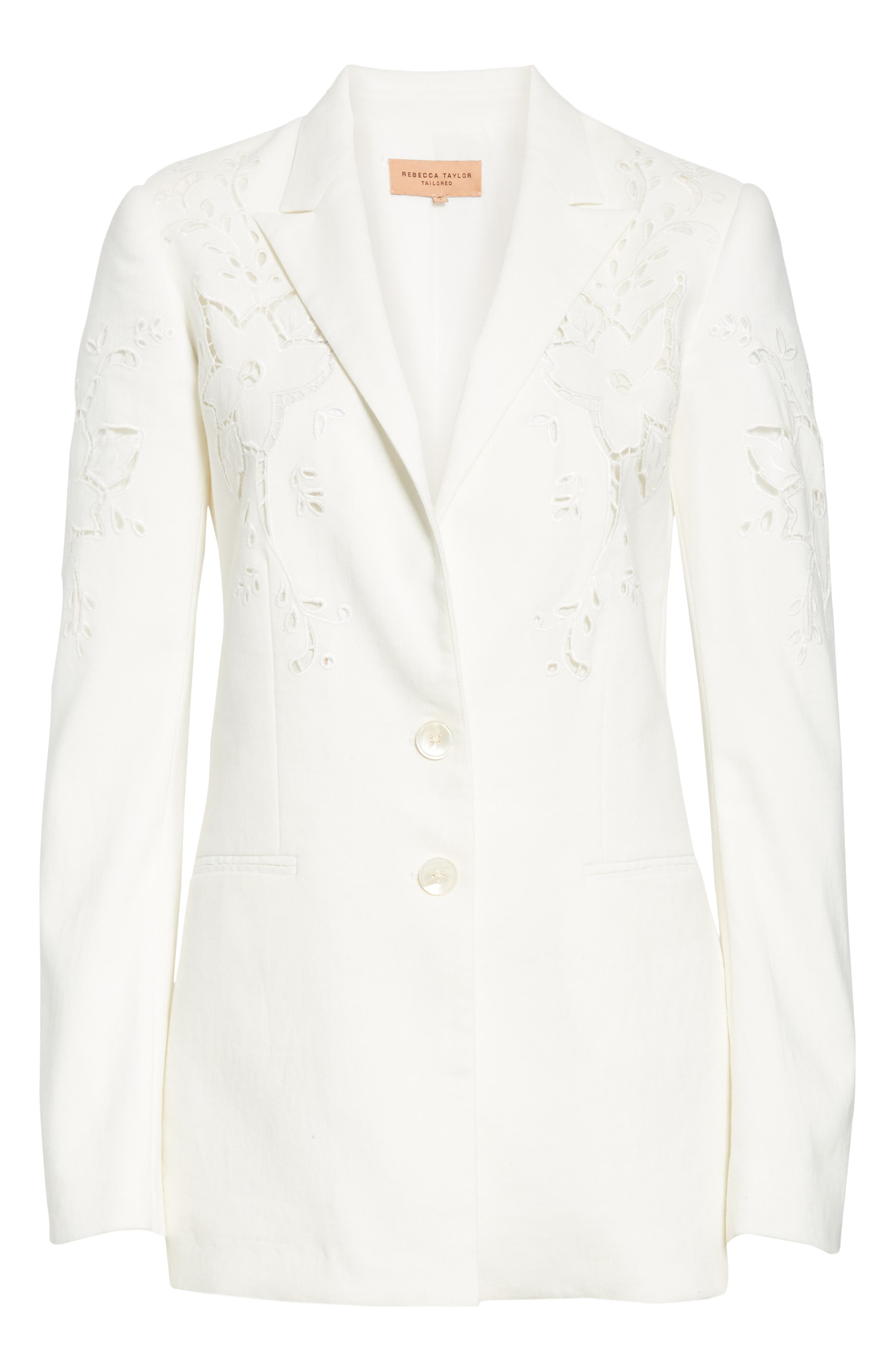 TAILORED BY REBECCA TAYLOR,                             Eyelet Embroidery Linen Blend Blazer,                             Alternate thumbnail 5, color,                             SNOW