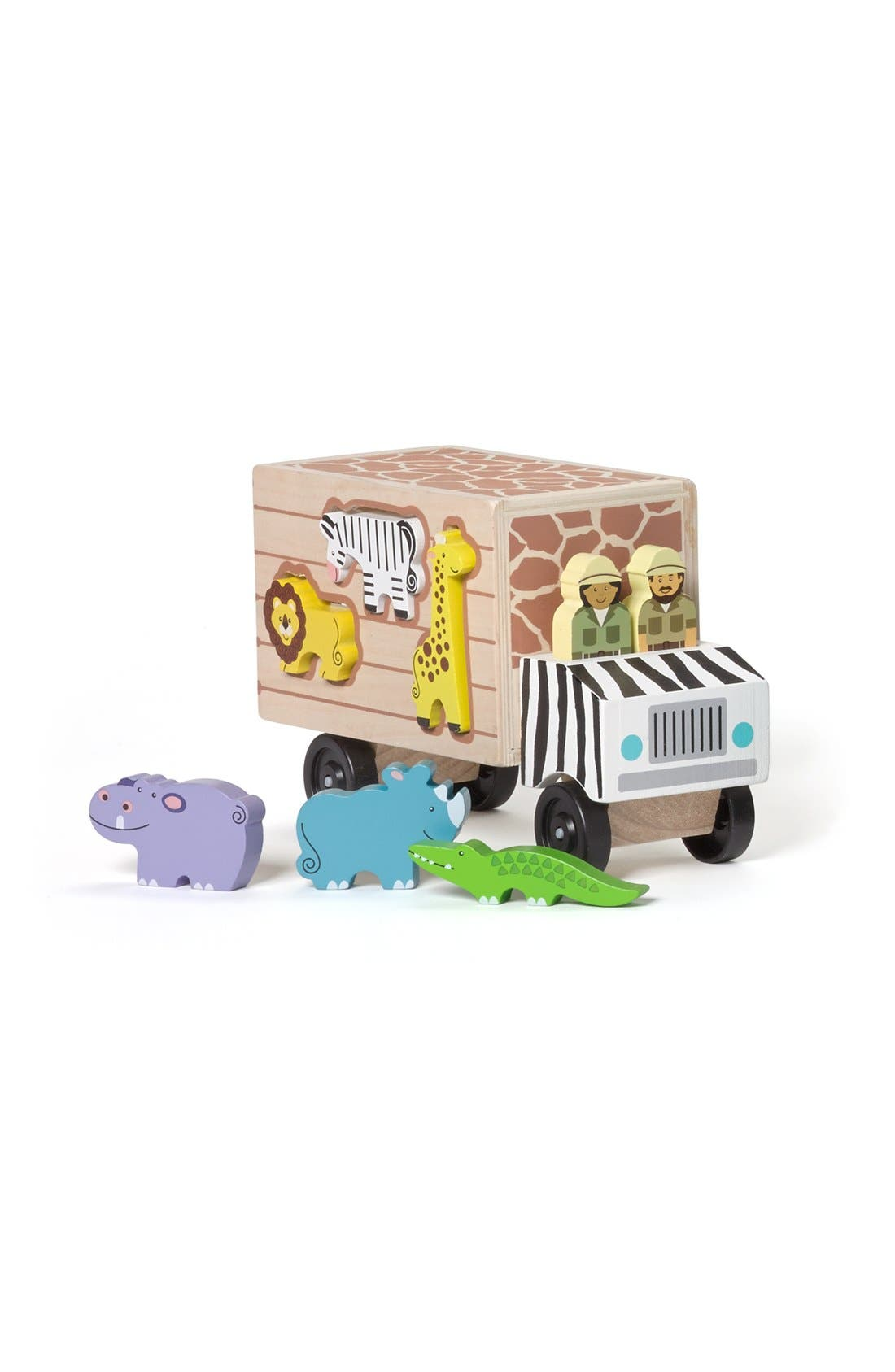 'Animal Rescue' Shape Sorting Wooden Truck Toy,                             Alternate thumbnail 3, color,                             BROWN