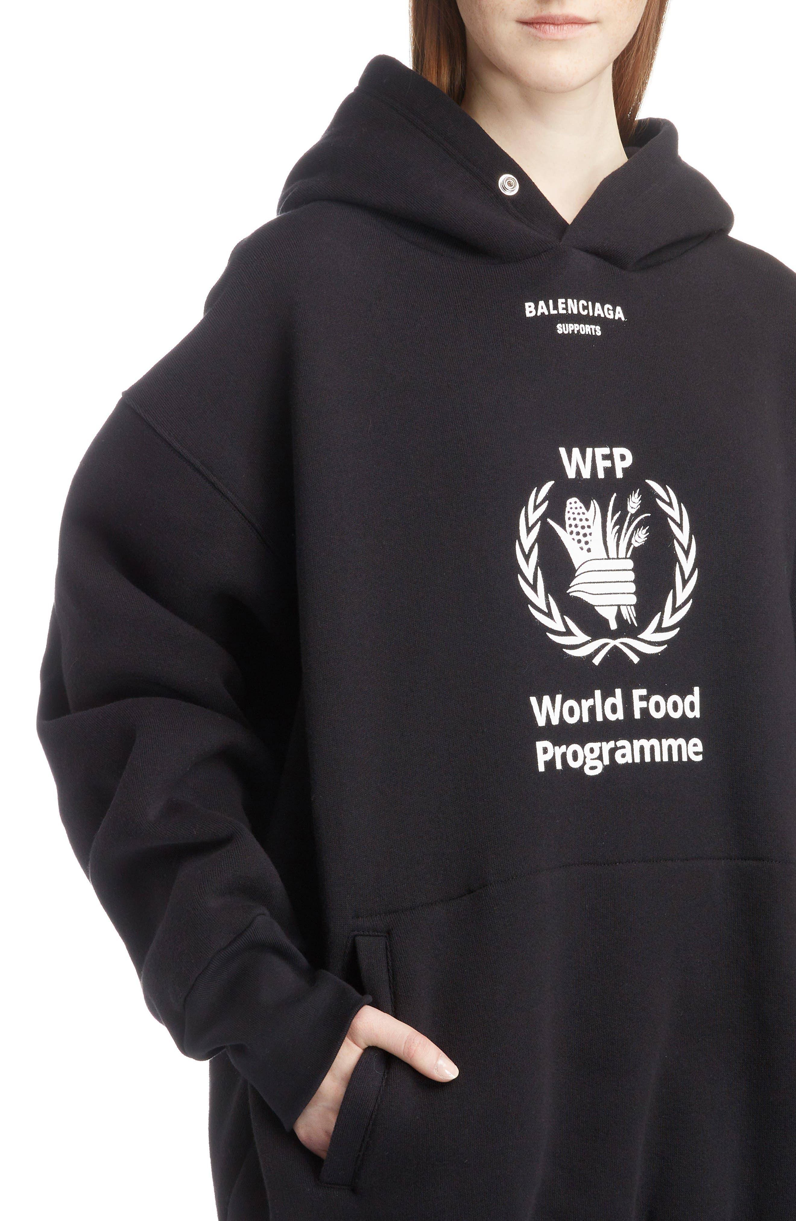 World Food Programme Oversize Brushed Felt Hoodie,                             Alternate thumbnail 4, color,                             1070-BLACK/ WHITE