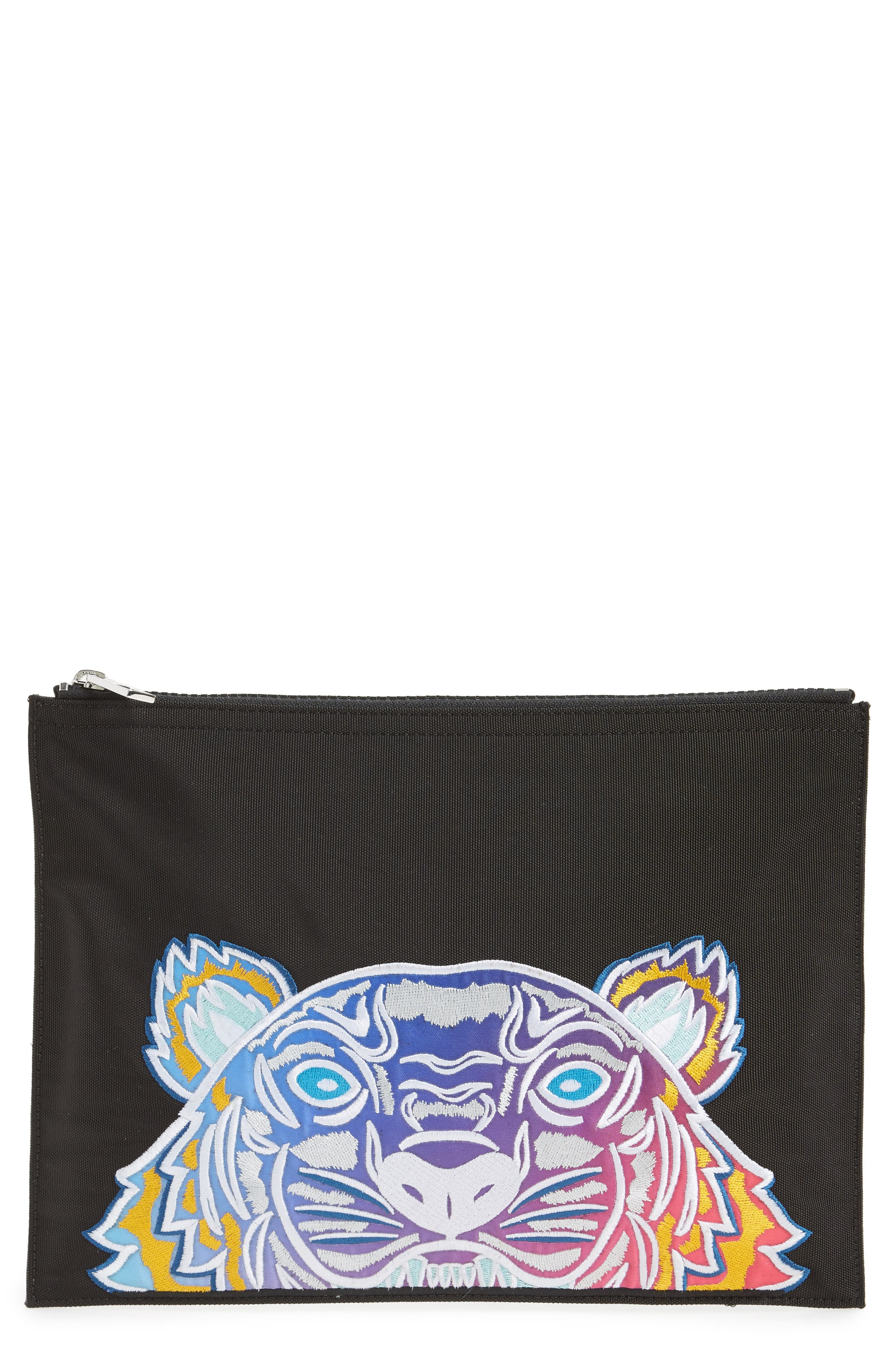 Rainbow Tiger Embroidered A4 Pouch,                             Main thumbnail 1, color,                             001