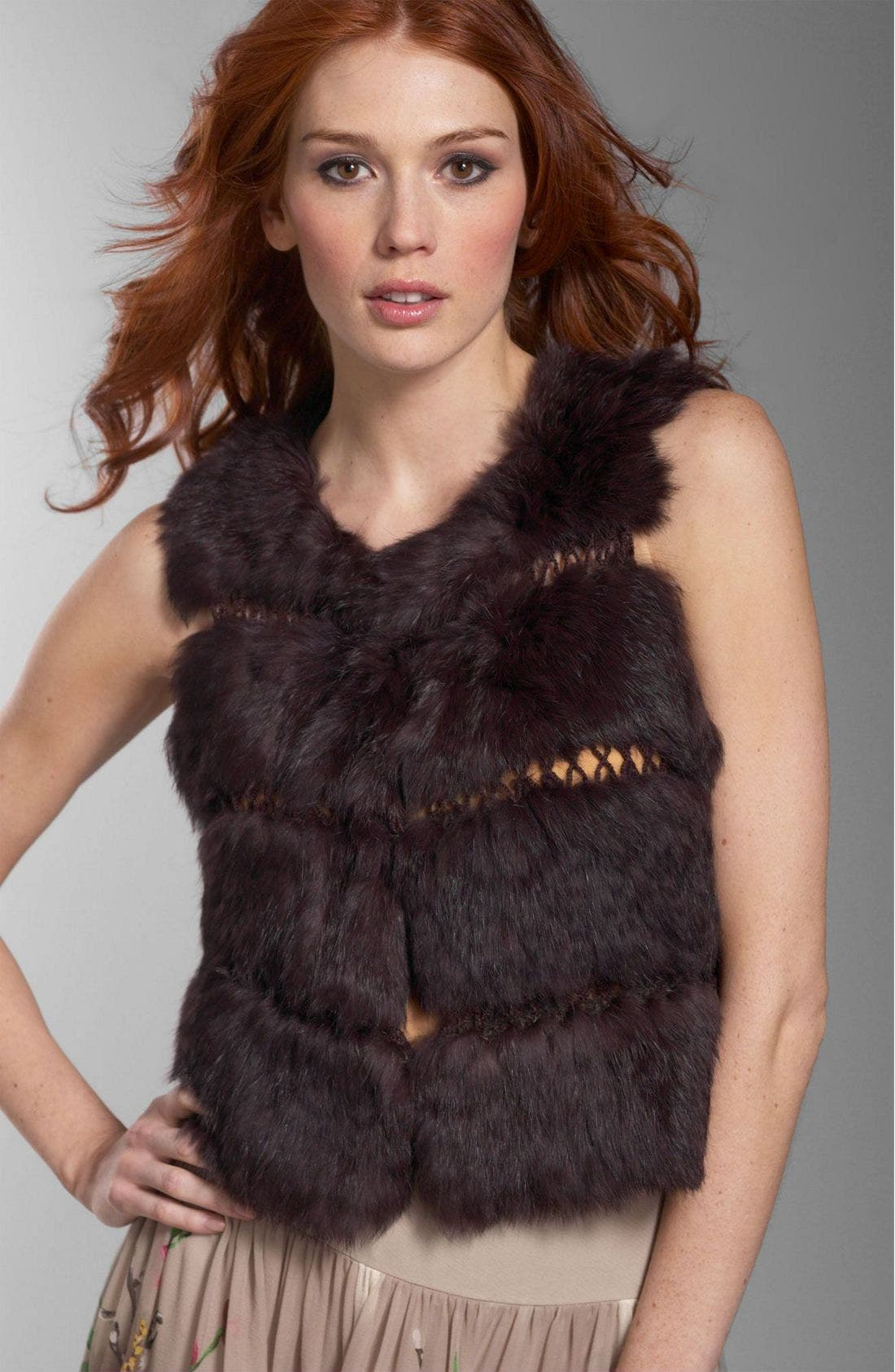 BCBG Max Azria Fur Vest, Main, color, BLK
