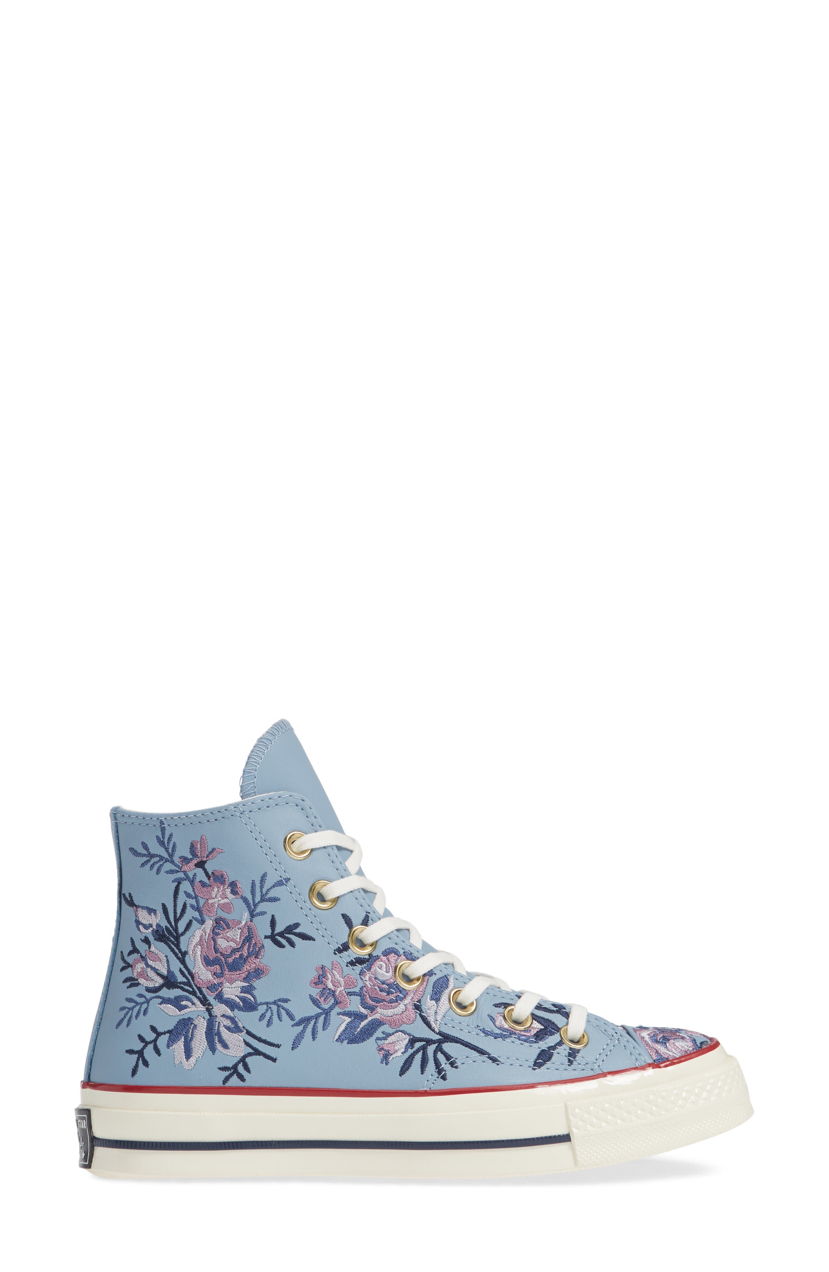 Chuck Taylor<sup>®</sup> All Star<sup>®</sup> Parkway Floral 70 High Top Sneaker,                             Alternate thumbnail 3, color,                             WASHED DENIM LEATHER