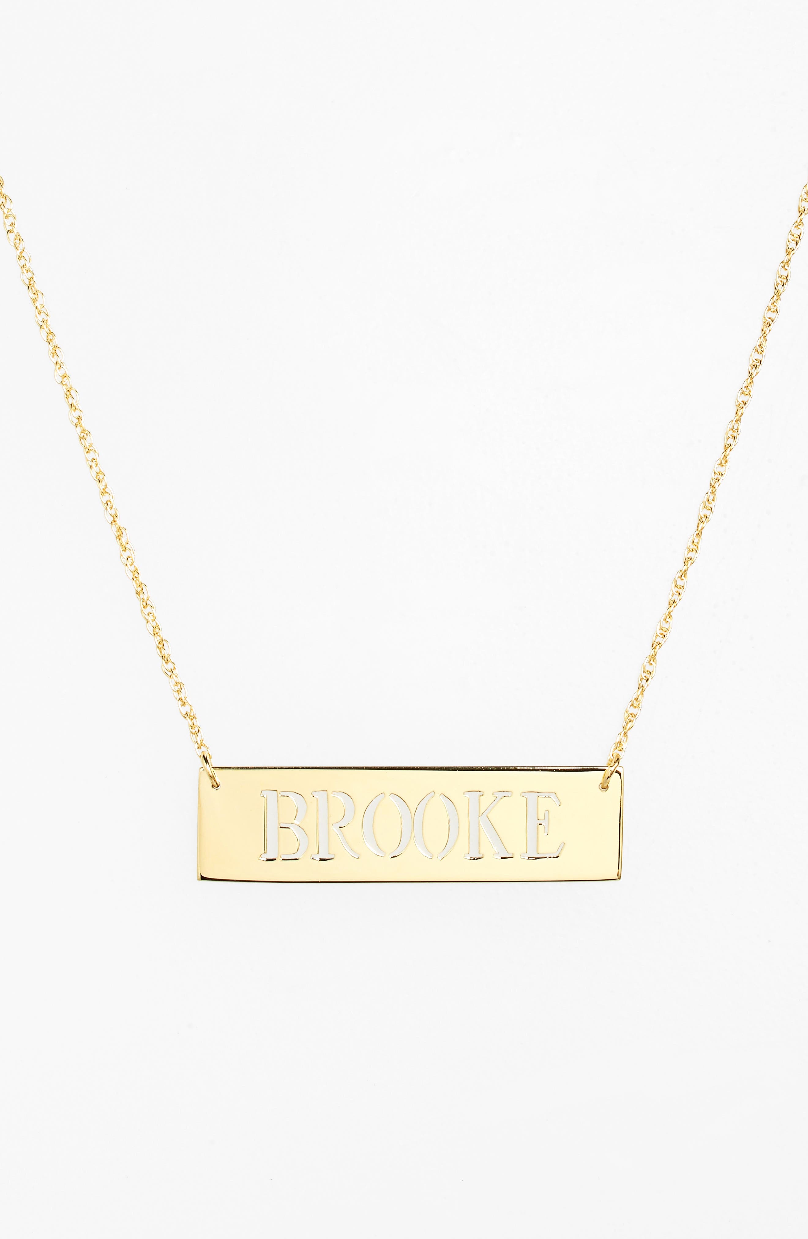 Personalized Cutout Nameplate Necklace,                             Alternate thumbnail 3, color,                             GOLD