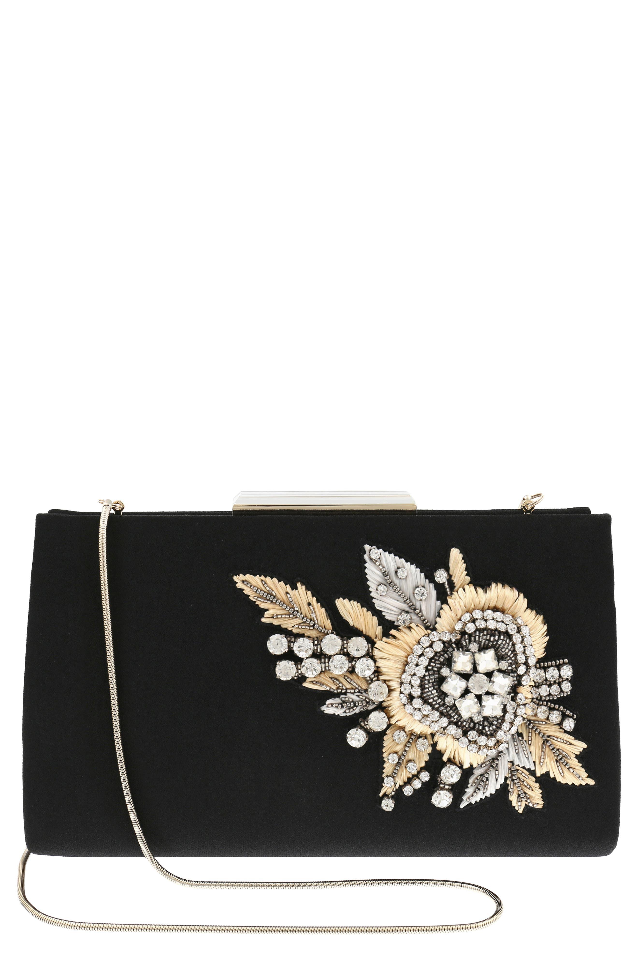 Generous Embellished Clutch,                         Main,                         color, BLACK