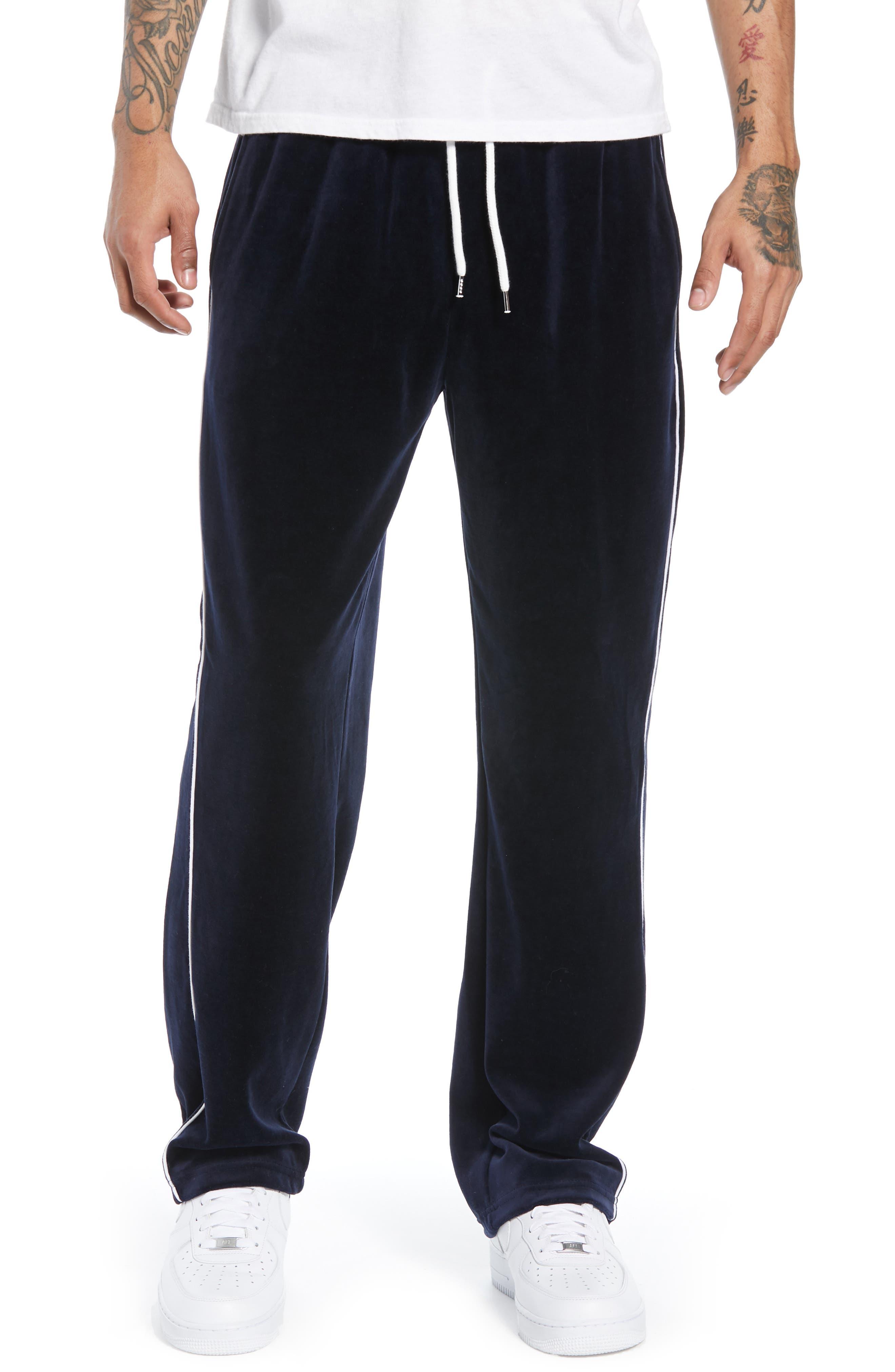 Velour Pants,                         Main,                         color, NAVY BLUE