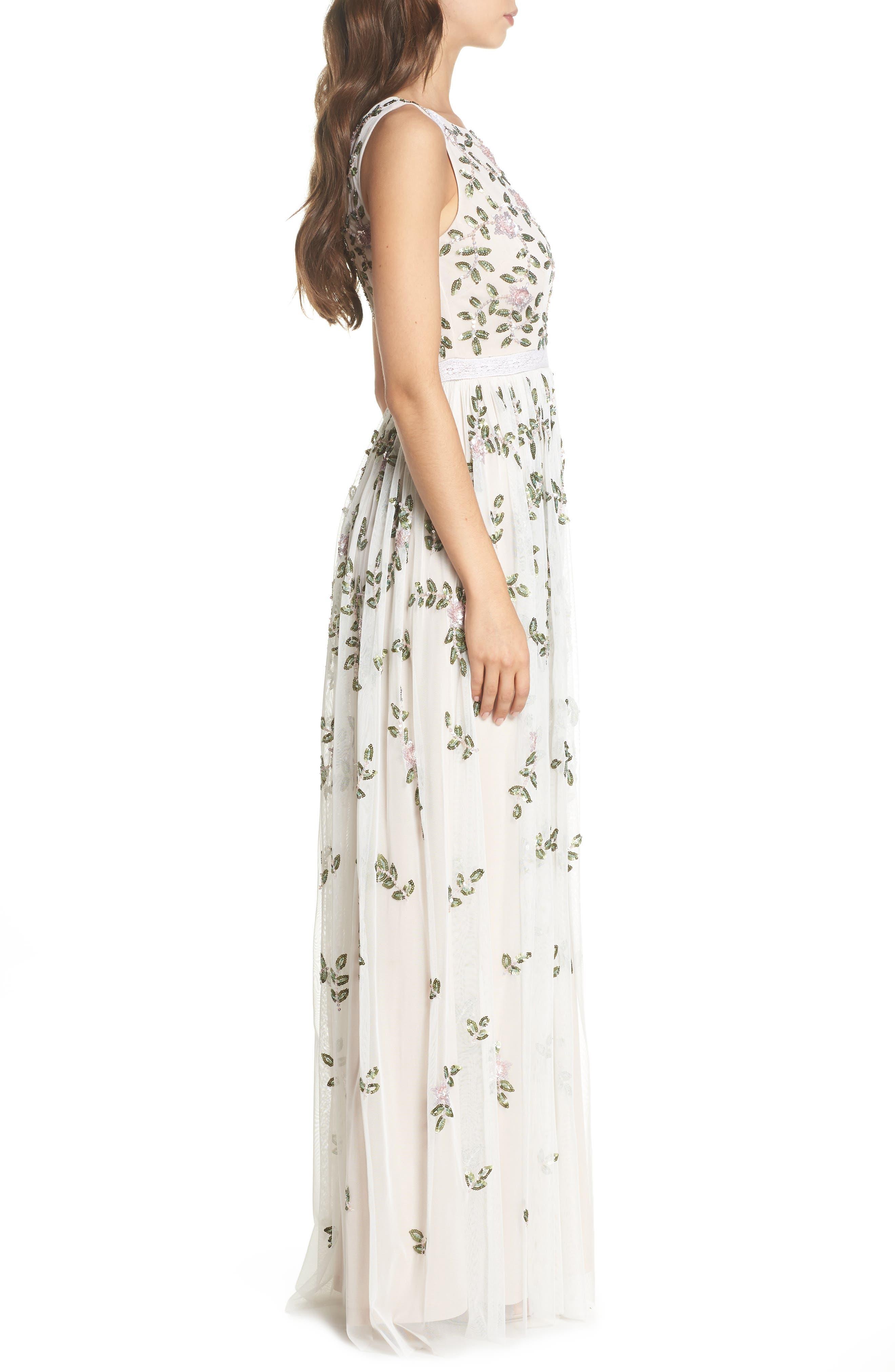 Flower Sequin Gown,                             Alternate thumbnail 3, color,