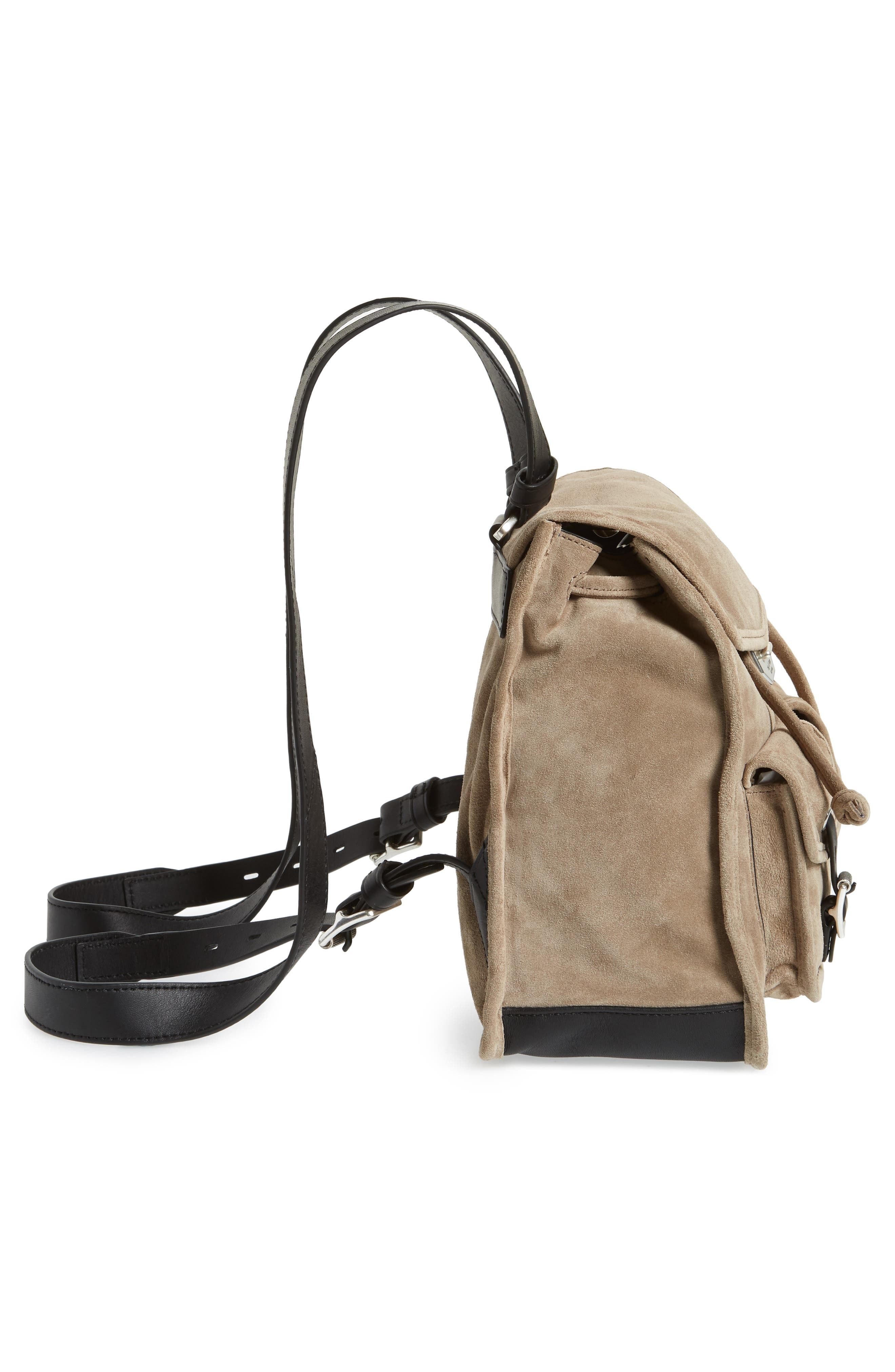 Small Suede Field Backpack,                             Alternate thumbnail 5, color,                             WARM GREY SUEDE