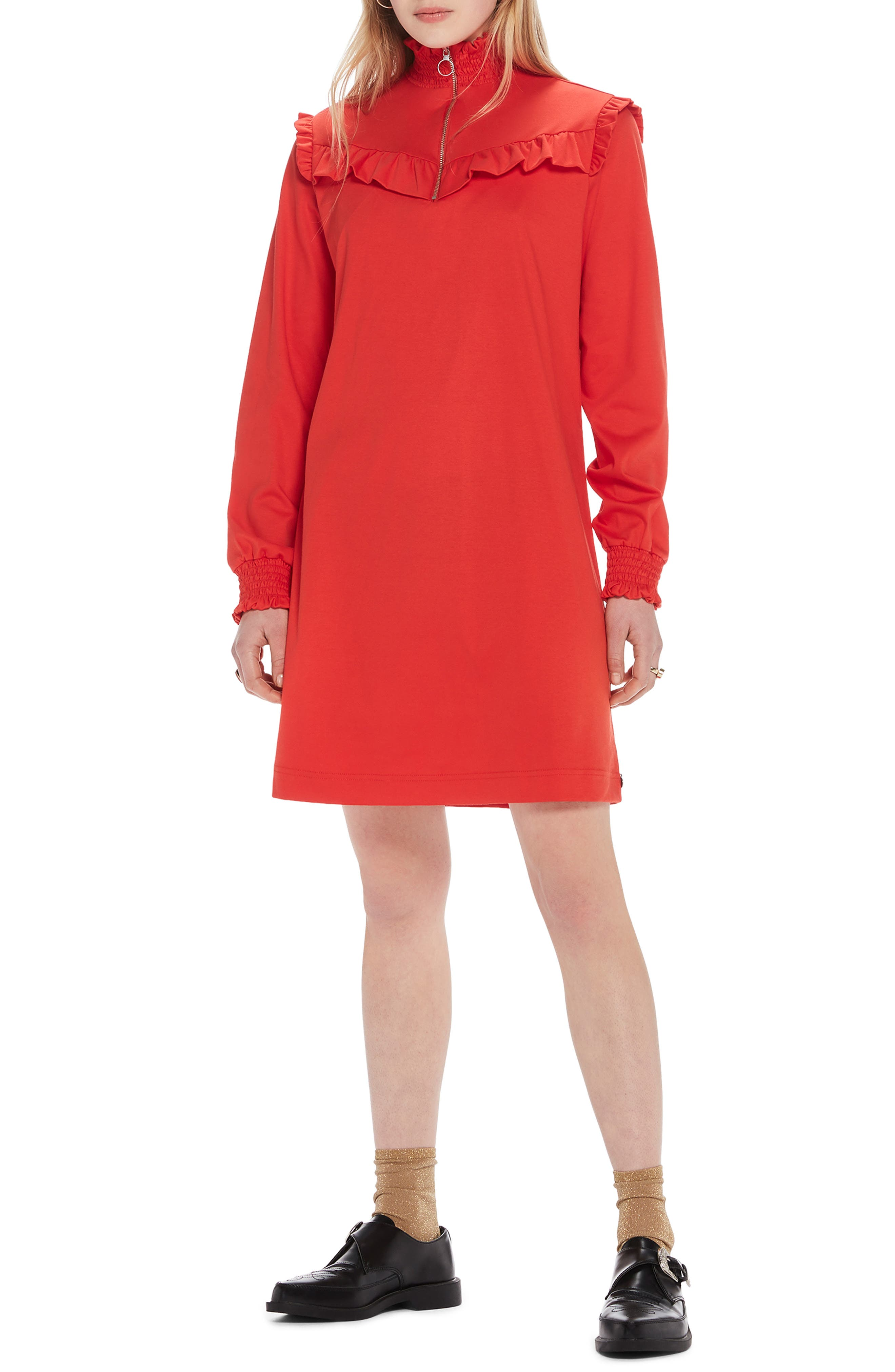 Smocked Neck Jersey Dress,                             Main thumbnail 1, color,                             POPPY RED