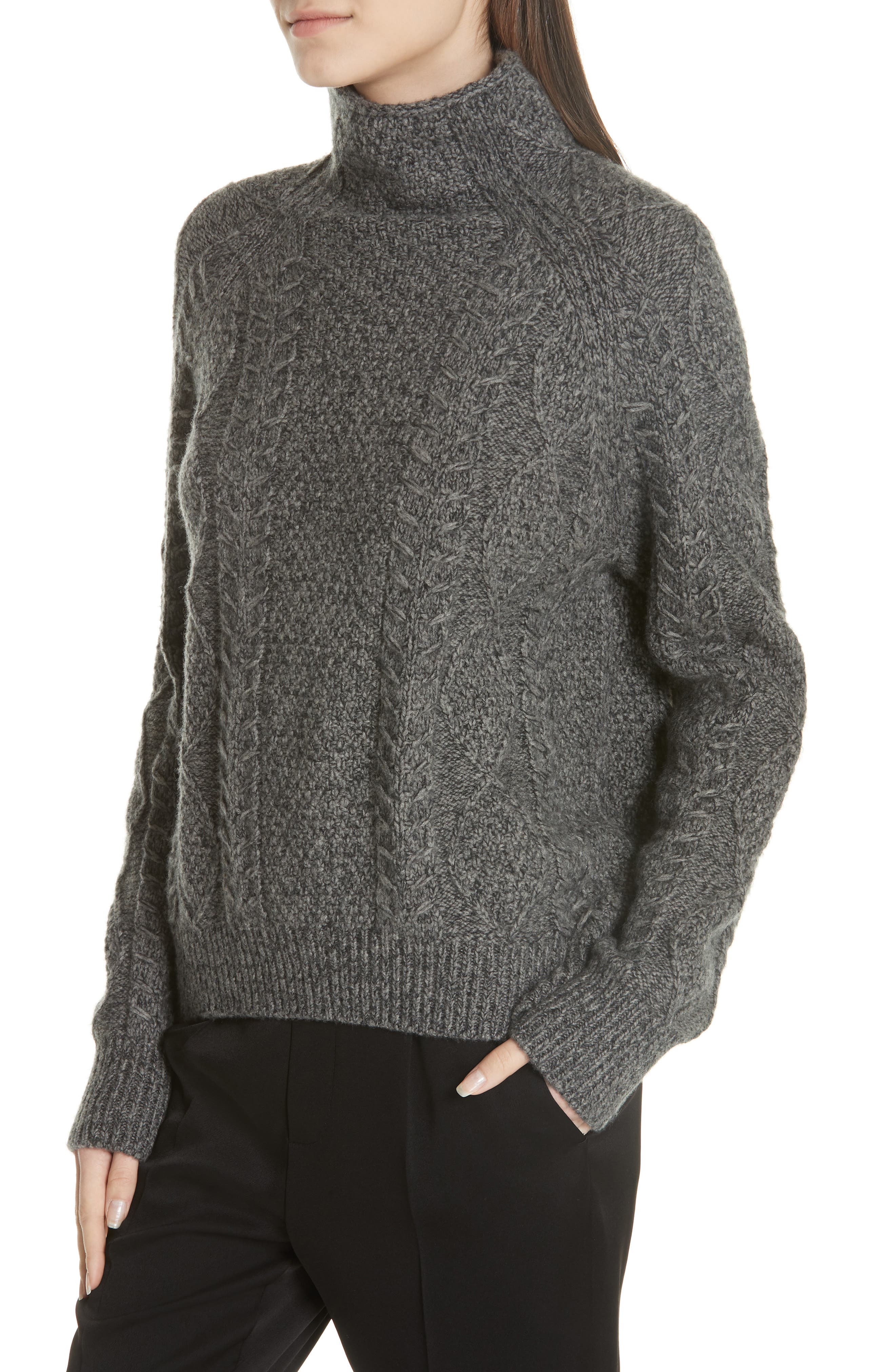 Cable Turtleneck Sweater,                             Alternate thumbnail 4, color,                             HEATHER STONE/ HEATHER CARBON