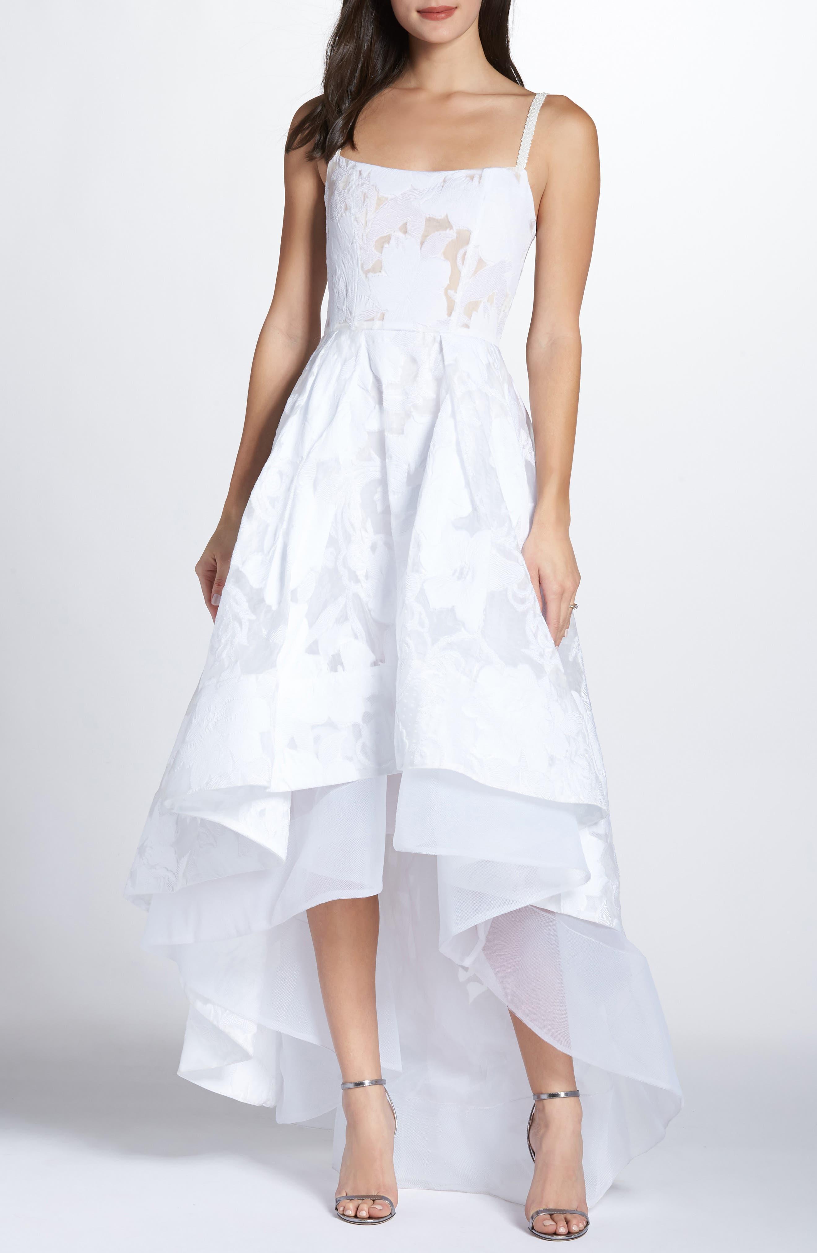 Boheme Floral High/Low Dress,                             Main thumbnail 1, color,                             WHITE