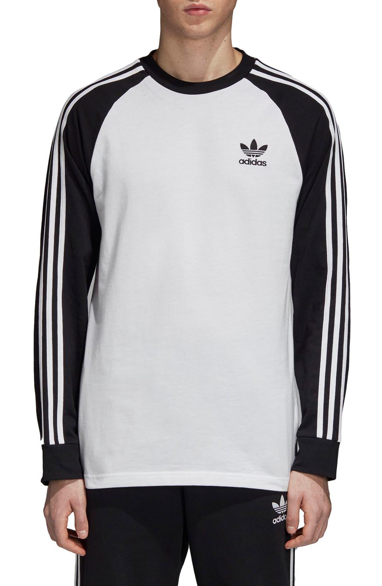 3-Stripes Long Sleeve T-Shirt,                         Main,                         color, WHITE/ BLACK