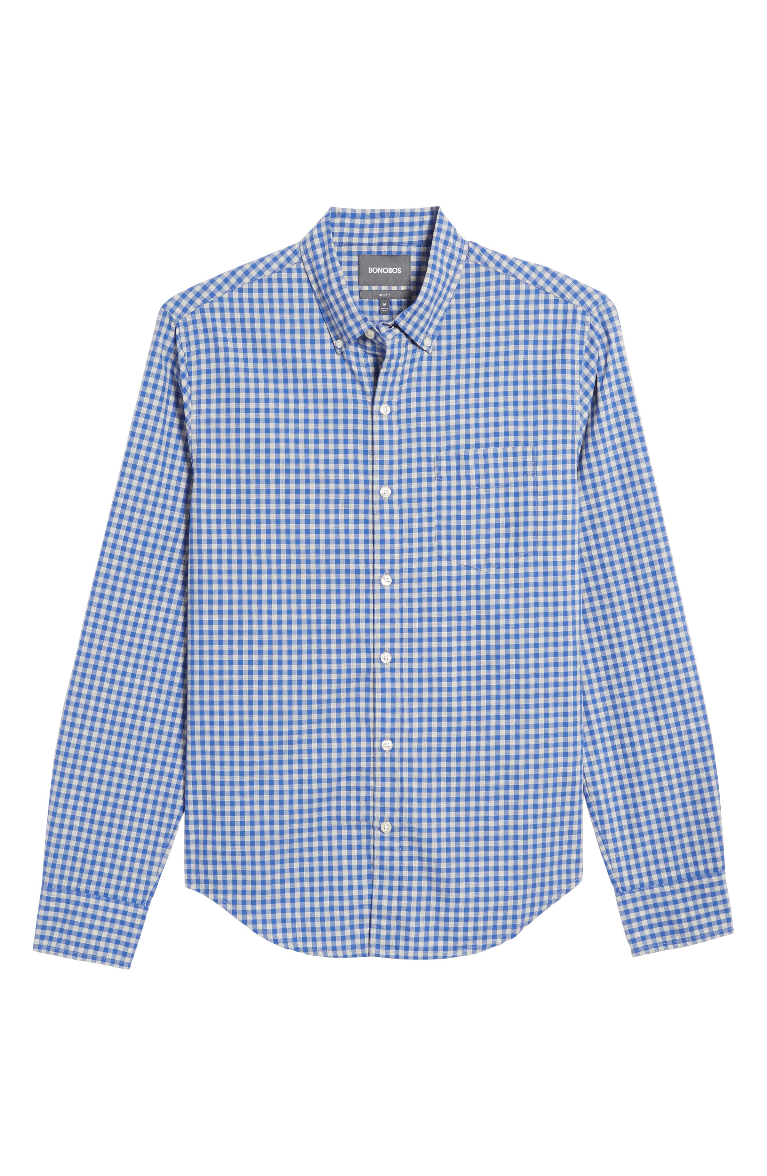 Slim Fit Washed Check Sport Shirt,                             Alternate thumbnail 6, color,