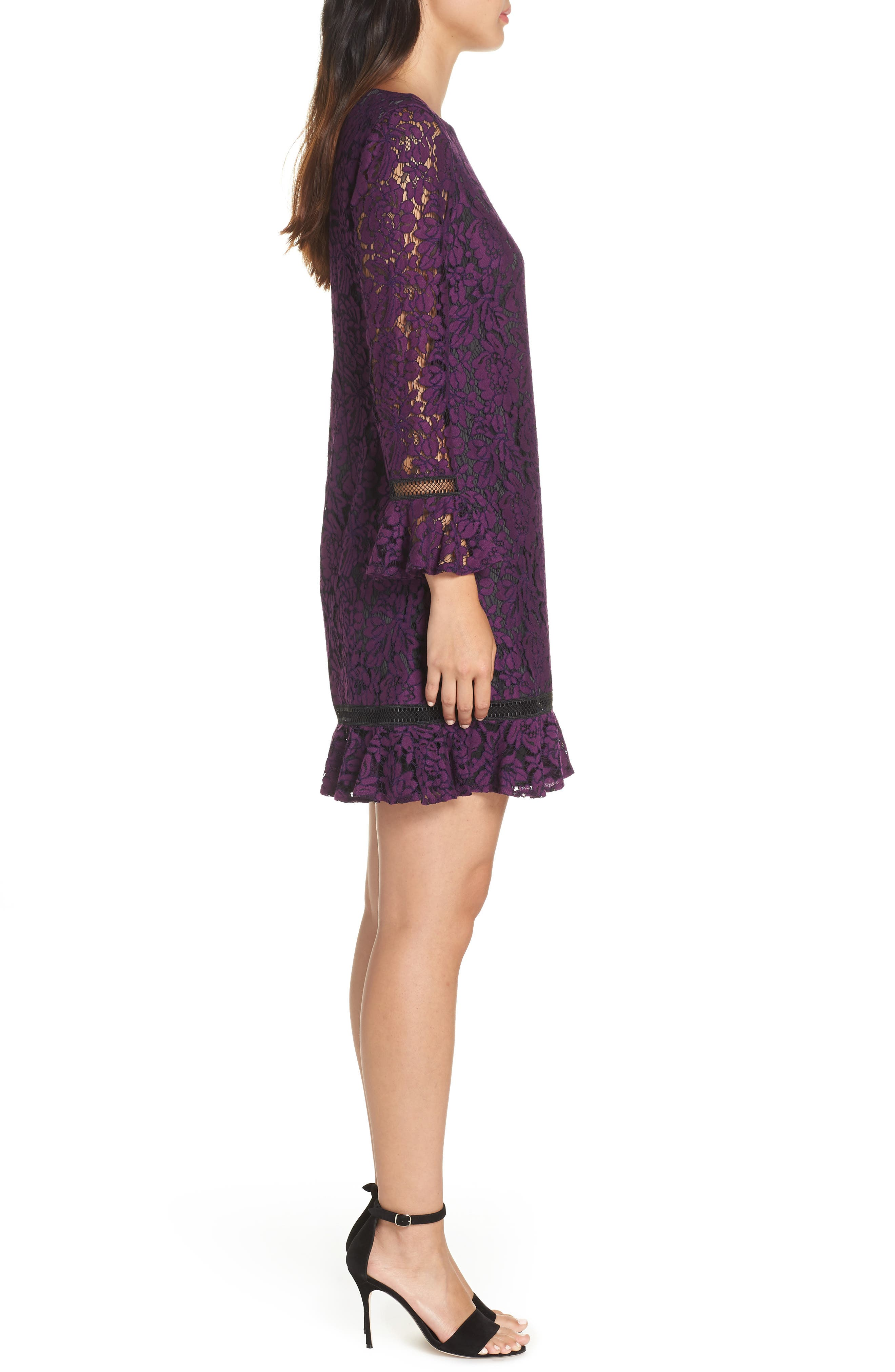 Flare Sleeve Lace Shift Dress,                             Alternate thumbnail 7, color,