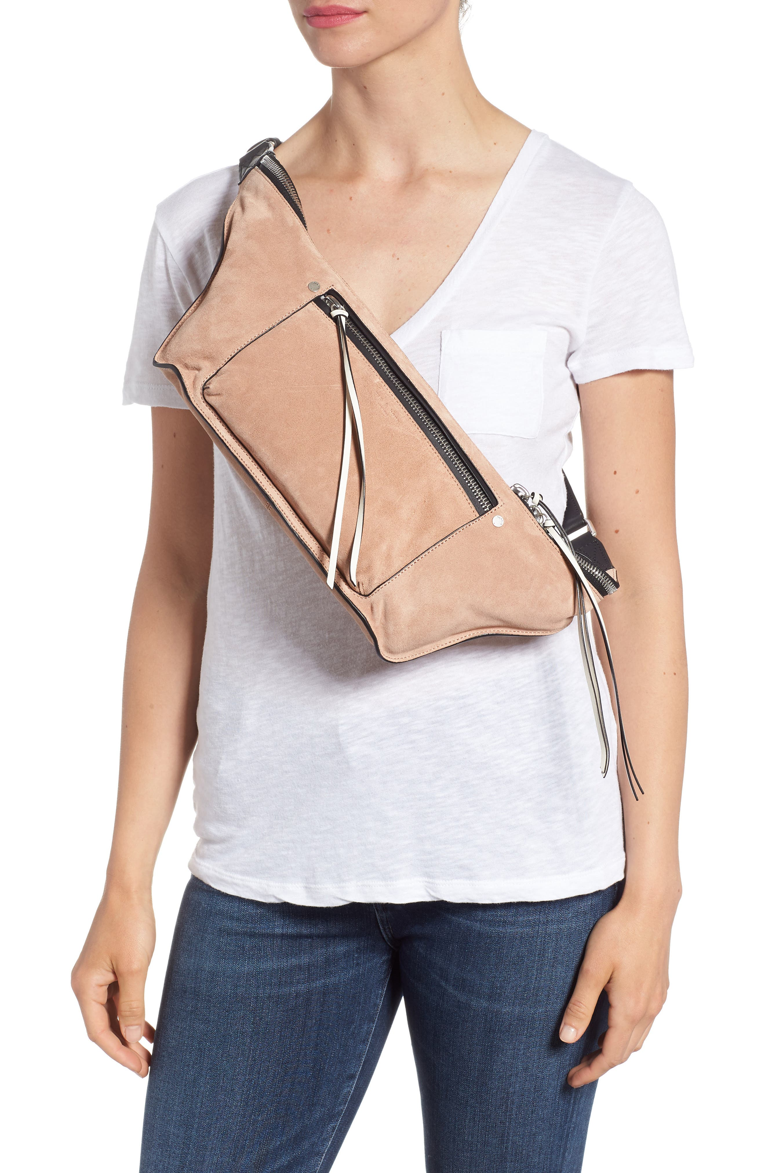 Elliot Leather Fanny Pack,                             Alternate thumbnail 3, color,                             NUDE SUEDE