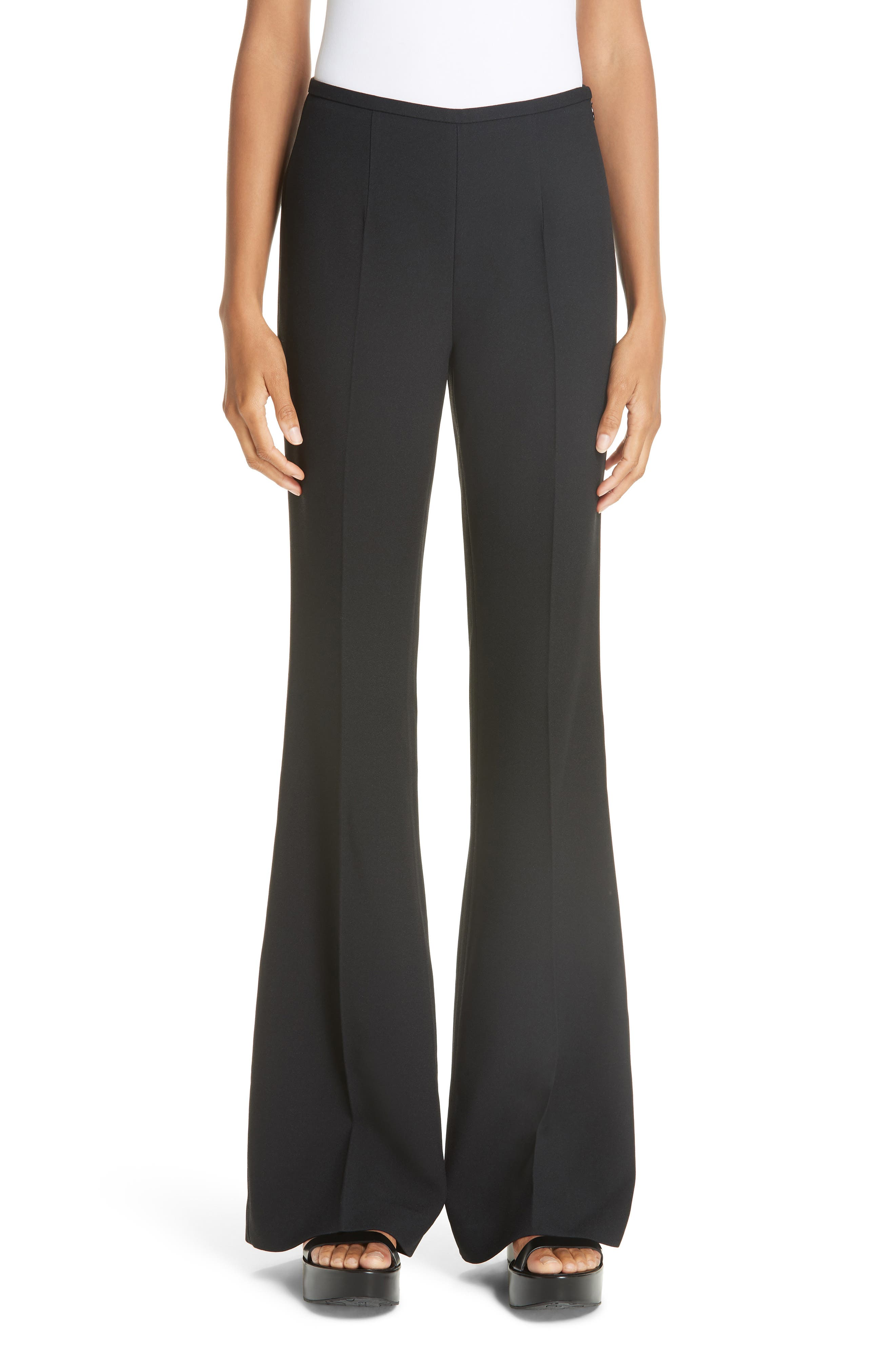Michael Kors Double Crepe Sable Flare Leg Pants, Black