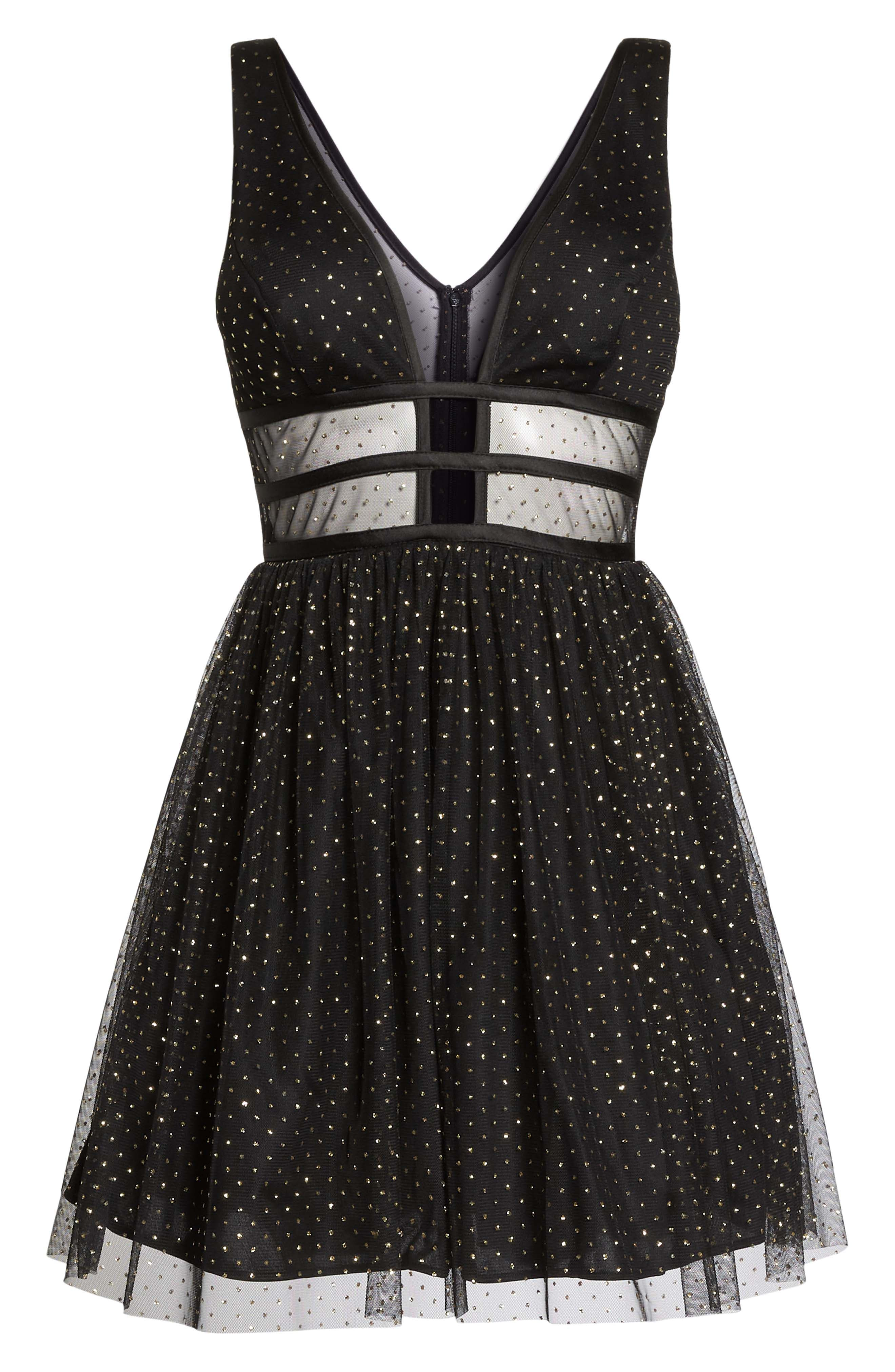 Glitter Dot Fit & Flare Party Dress,                             Alternate thumbnail 6, color,                             BLACK/ GOLD