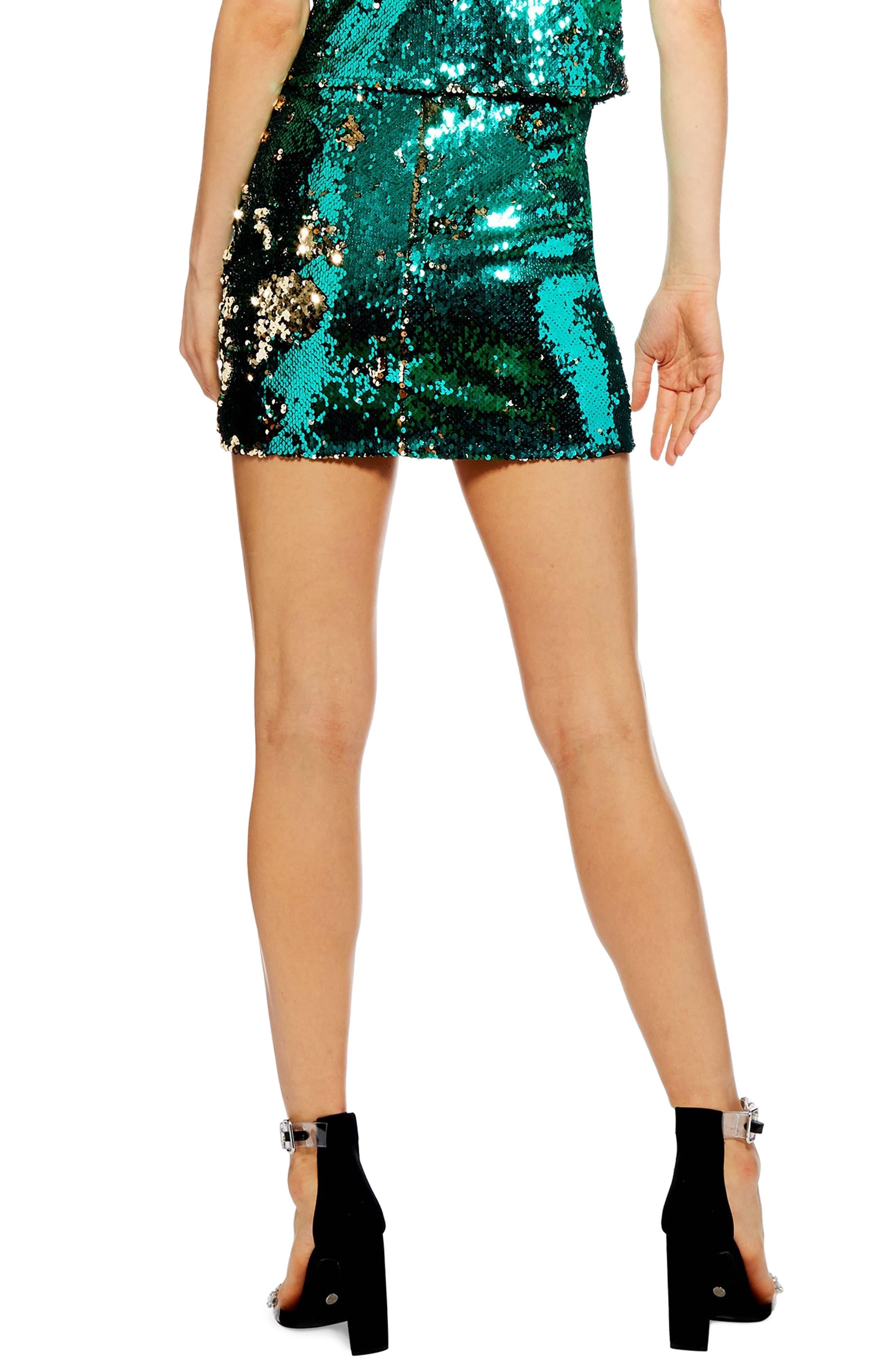 Sequin Drape Miniskirt,                             Alternate thumbnail 2, color,                             GREEN